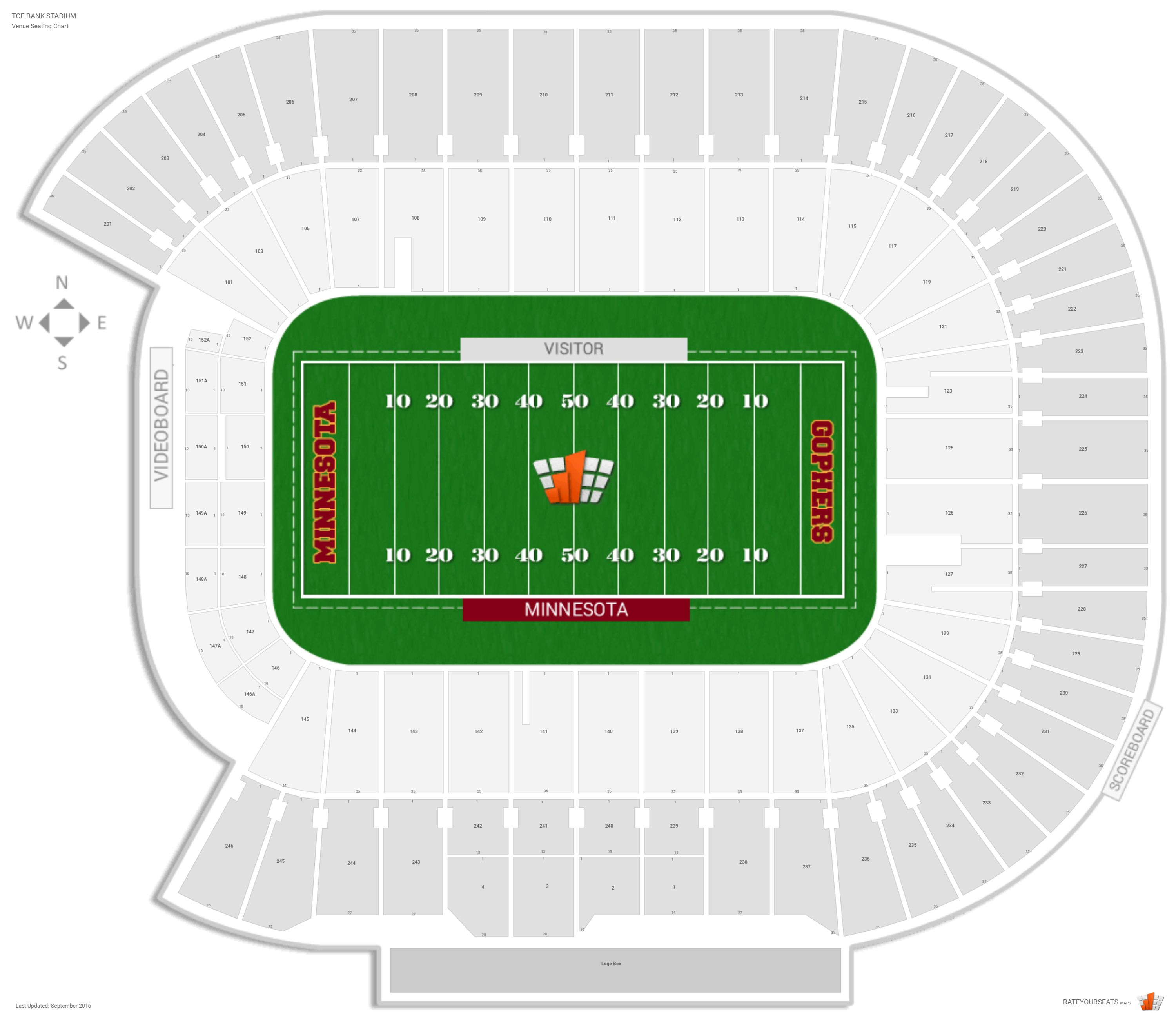 Tcf Bank Stadium Seating Chart With Row Numbers
