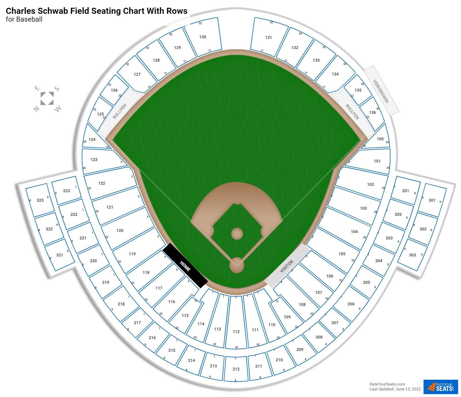 TD Ameritrade Park seating chart with rows