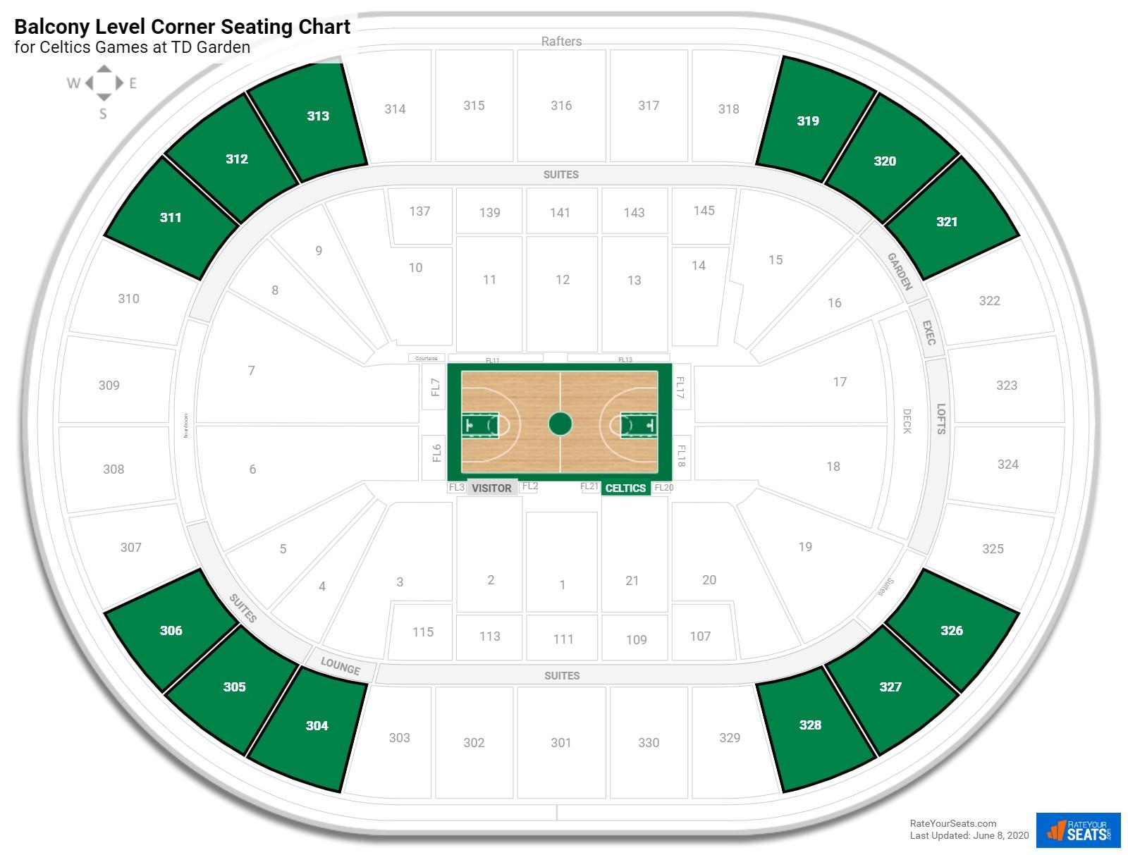 Balcony Level Corner Td Garden Basketball Seating