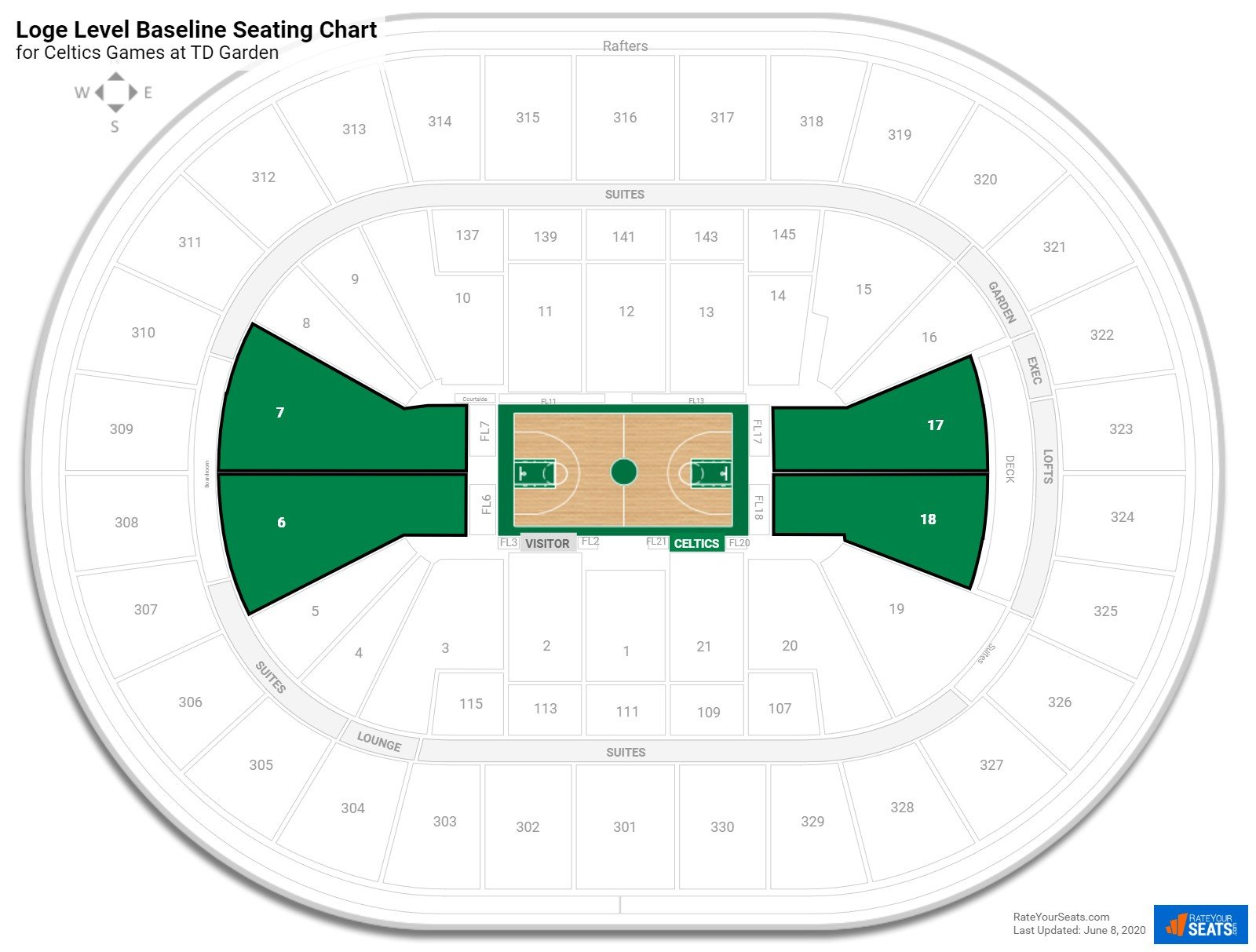 loge level baseline td garden basketball seating. Black Bedroom Furniture Sets. Home Design Ideas