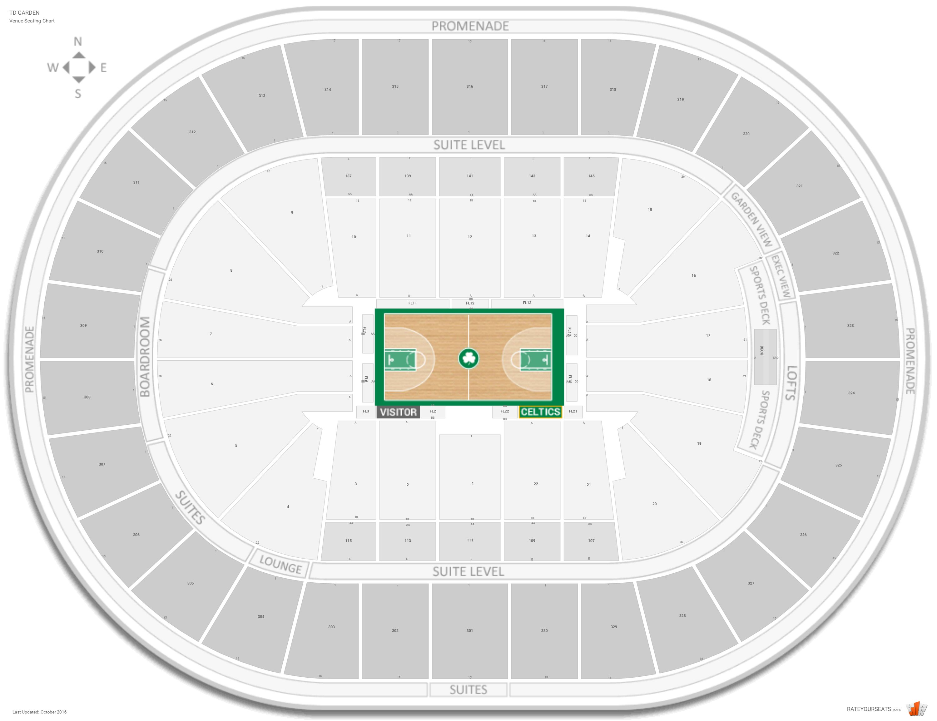 Boston Celtics Seating Guide Td Garden Rateyourseats Com. Celtics Pdf Map