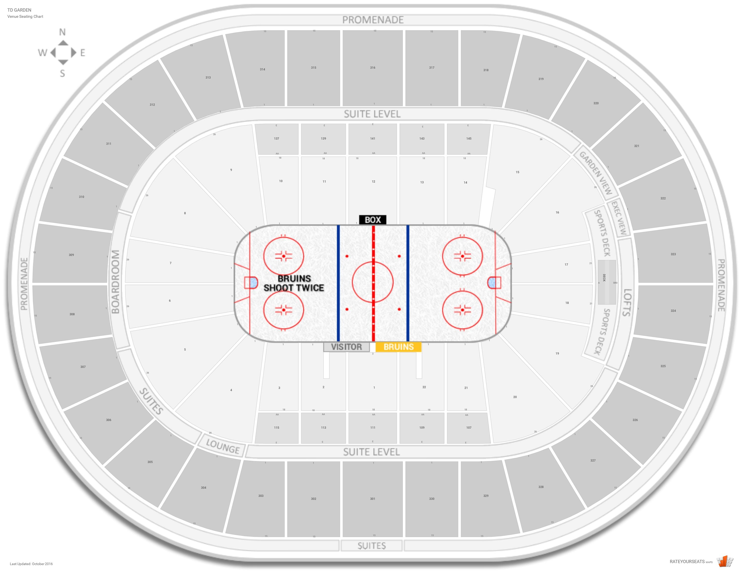 TD Garden Seating Chart with Row Numbers