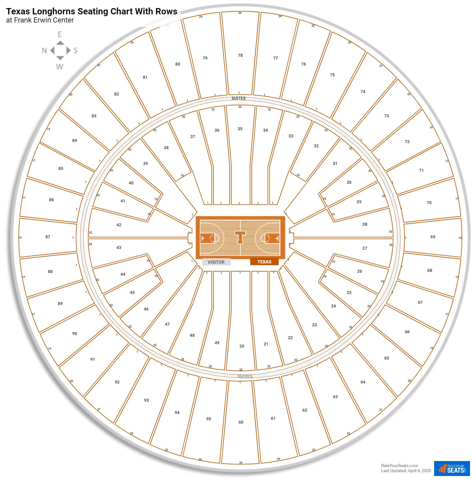 Frank Erwin Center seating chart with rows basketball