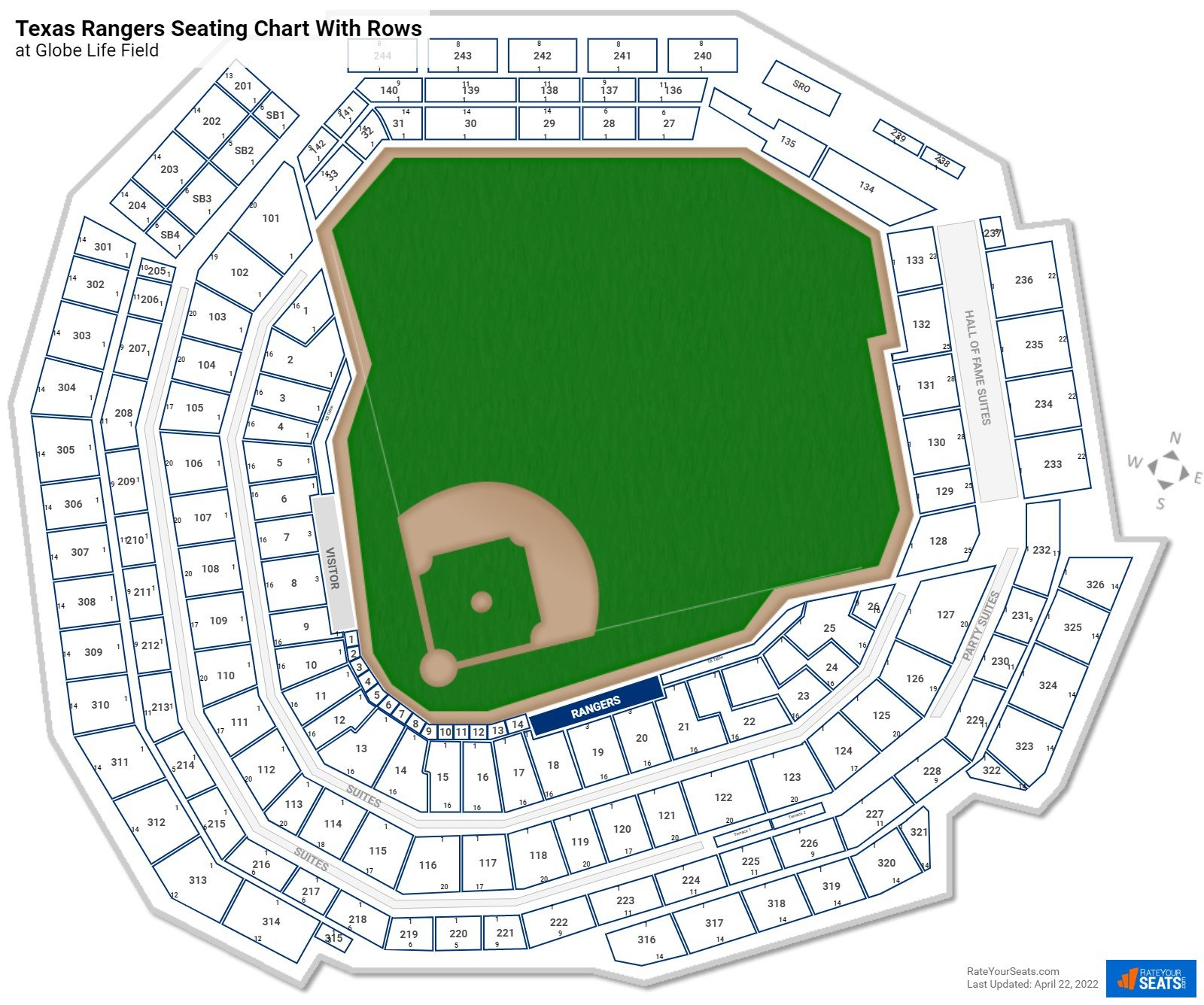 Globe Life Field seating chart with rows