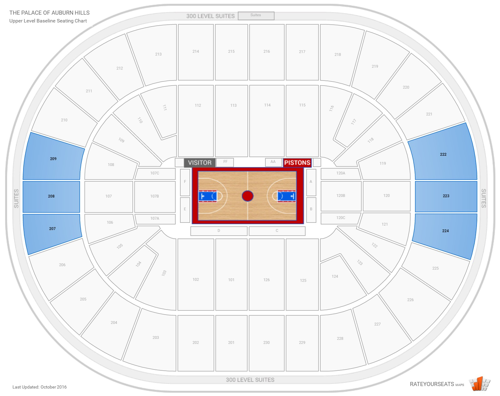 The Palace of Auburn Hills Upper Level Baseline seating chart