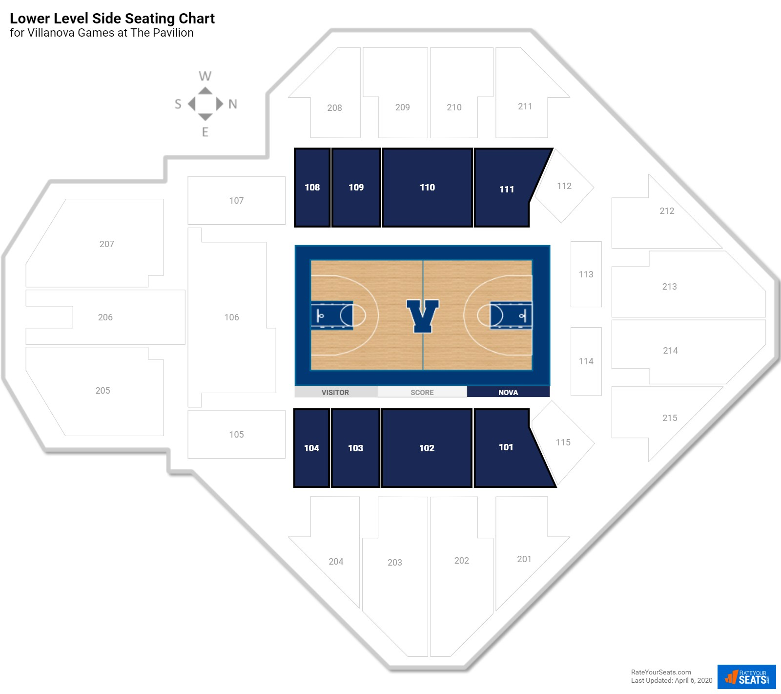 The Pavilion Lower Level Side Seating Chart