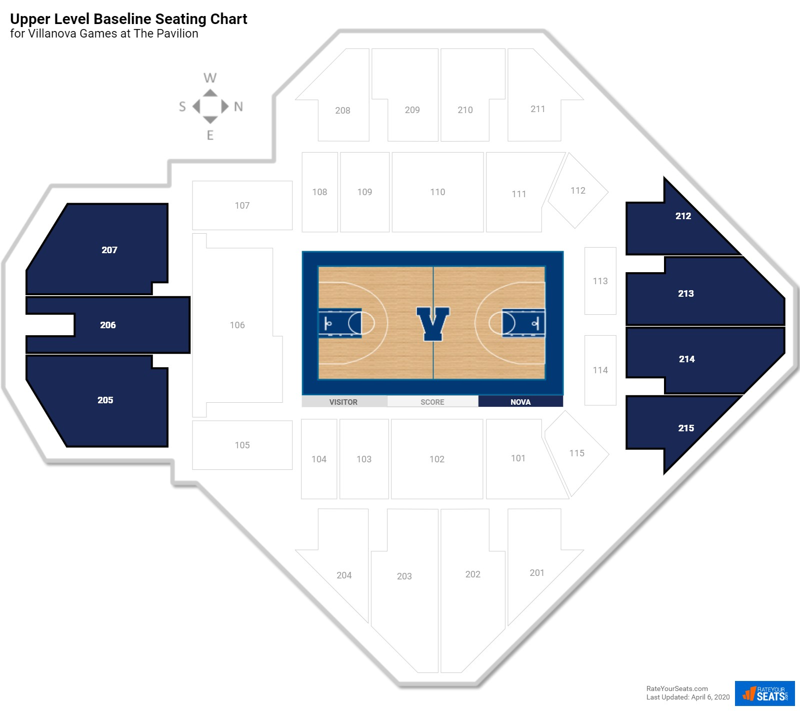 The Pavilion Upper Level End seating chart