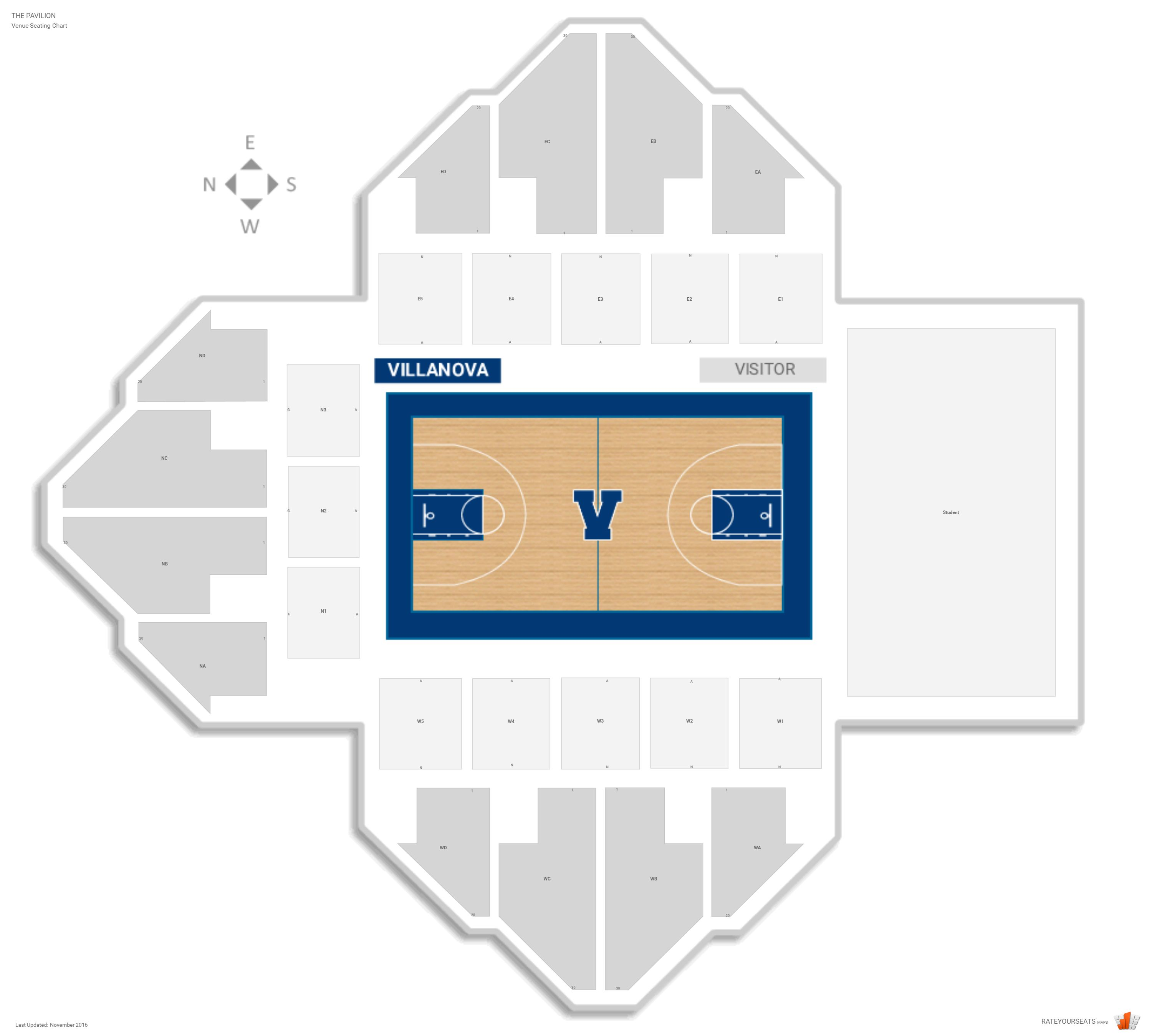 The Pavilion Seating Chart With Row Numbers