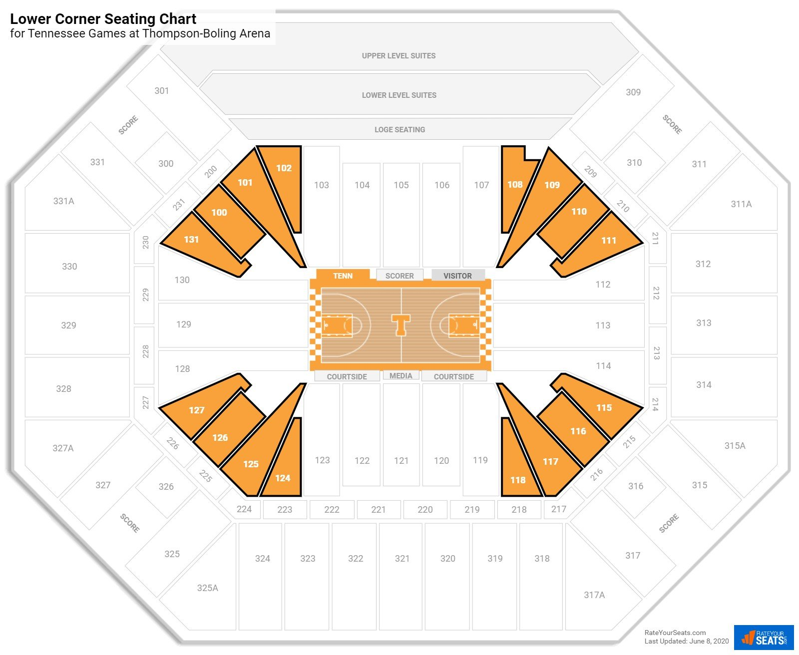 Thompson Boling Arena Lower Corner Seating Chart