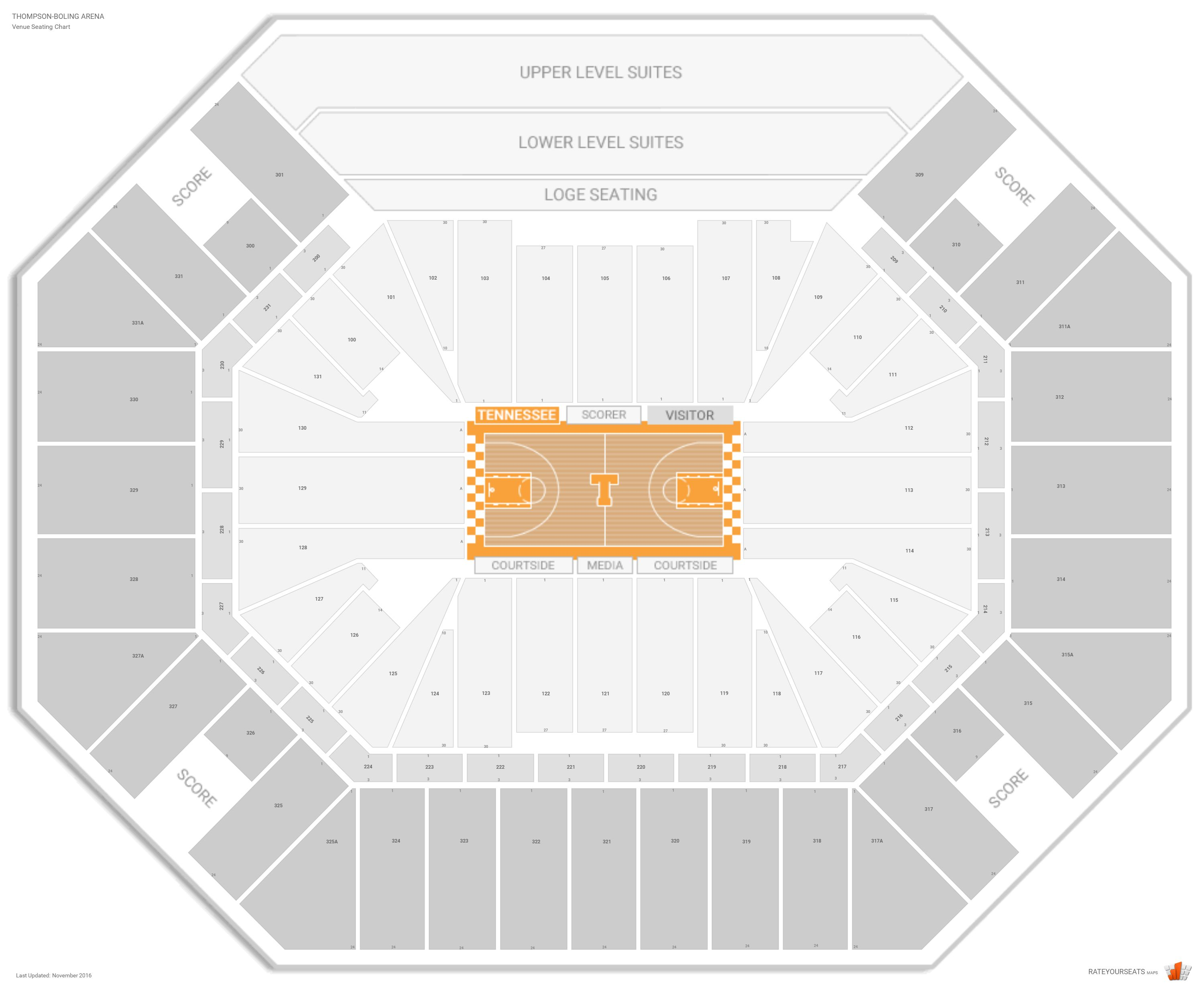 Thompson Boling Arena Seating Chart Seat Numbers