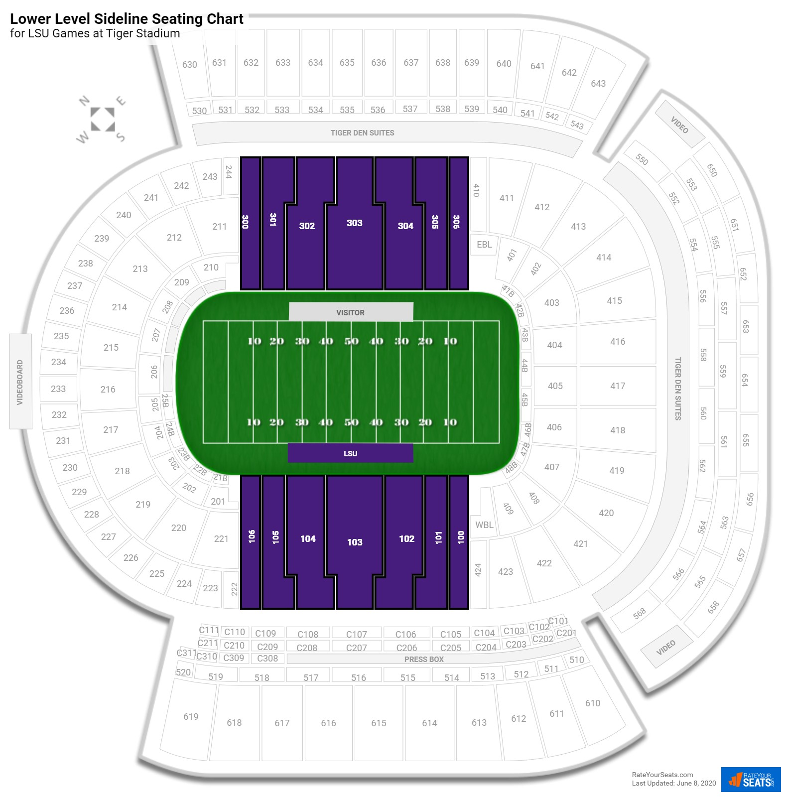 Tiger Stadium Lower Level Sideline seating chart