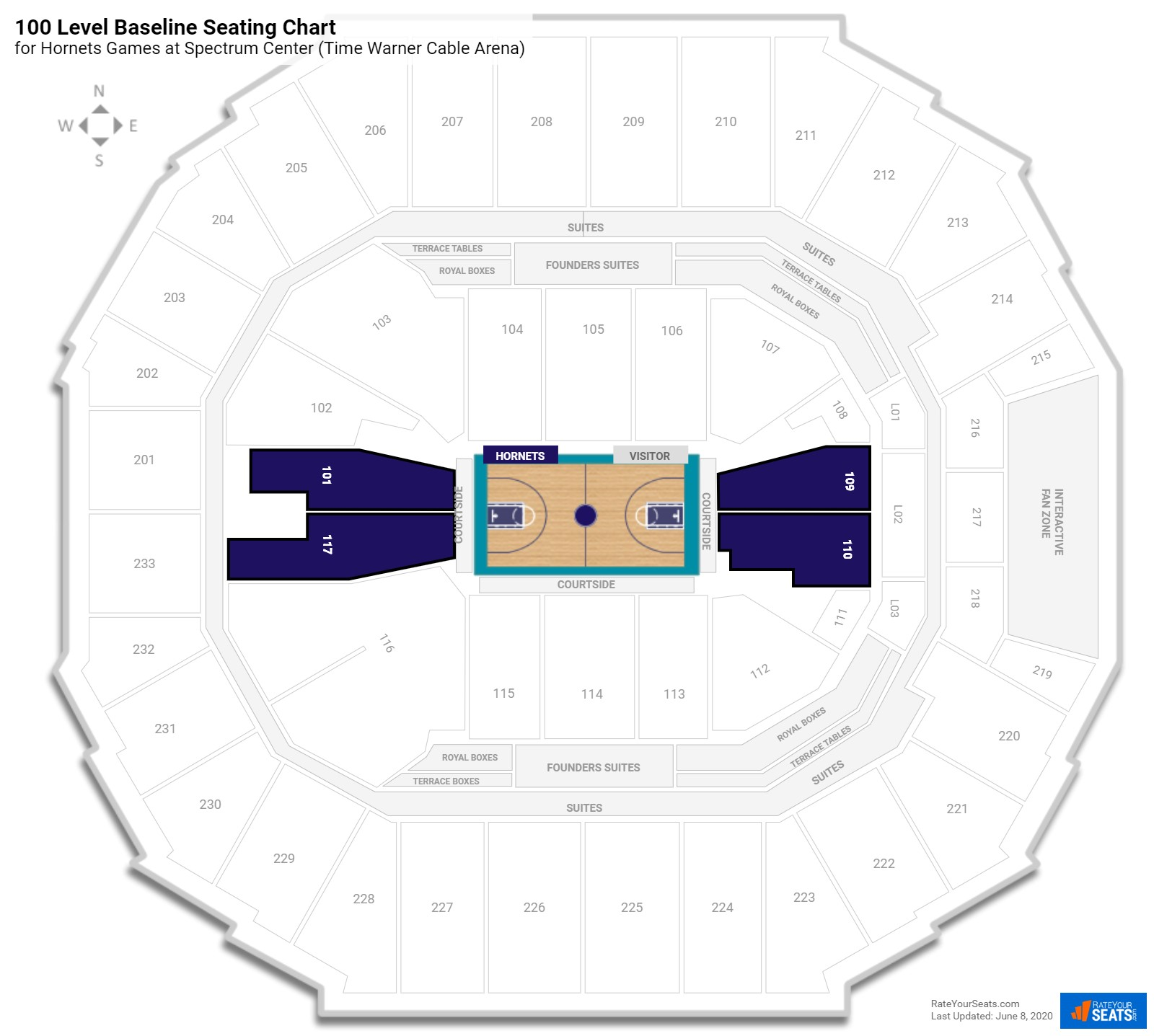 Spectrum Center (Time Warner Cable Arena) 100 Level Baseline seating chart