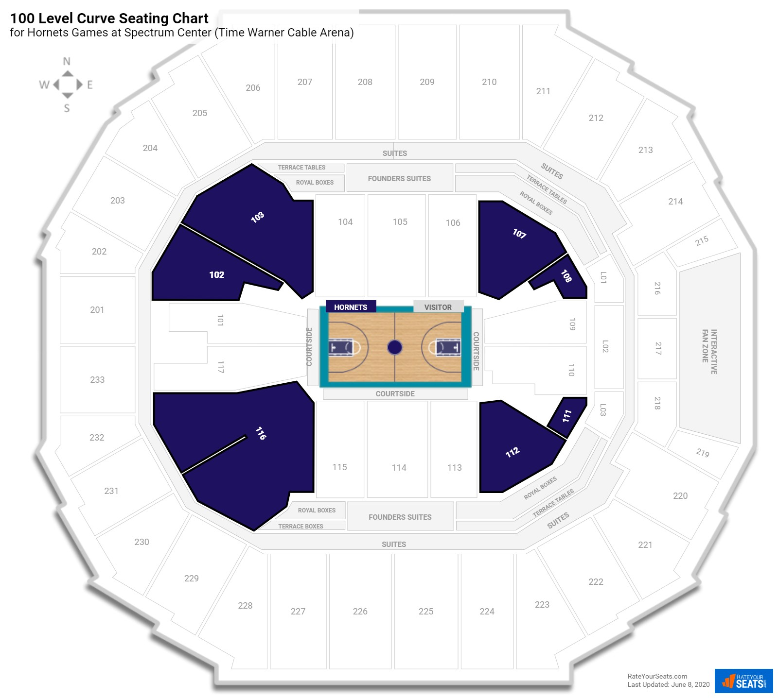 Spectrum Center (Time Warner Cable Arena) 100 Level Corner seating chart