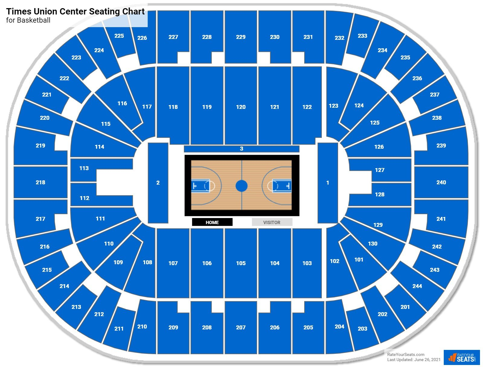 Times Union Center Seating Chart for Basketball