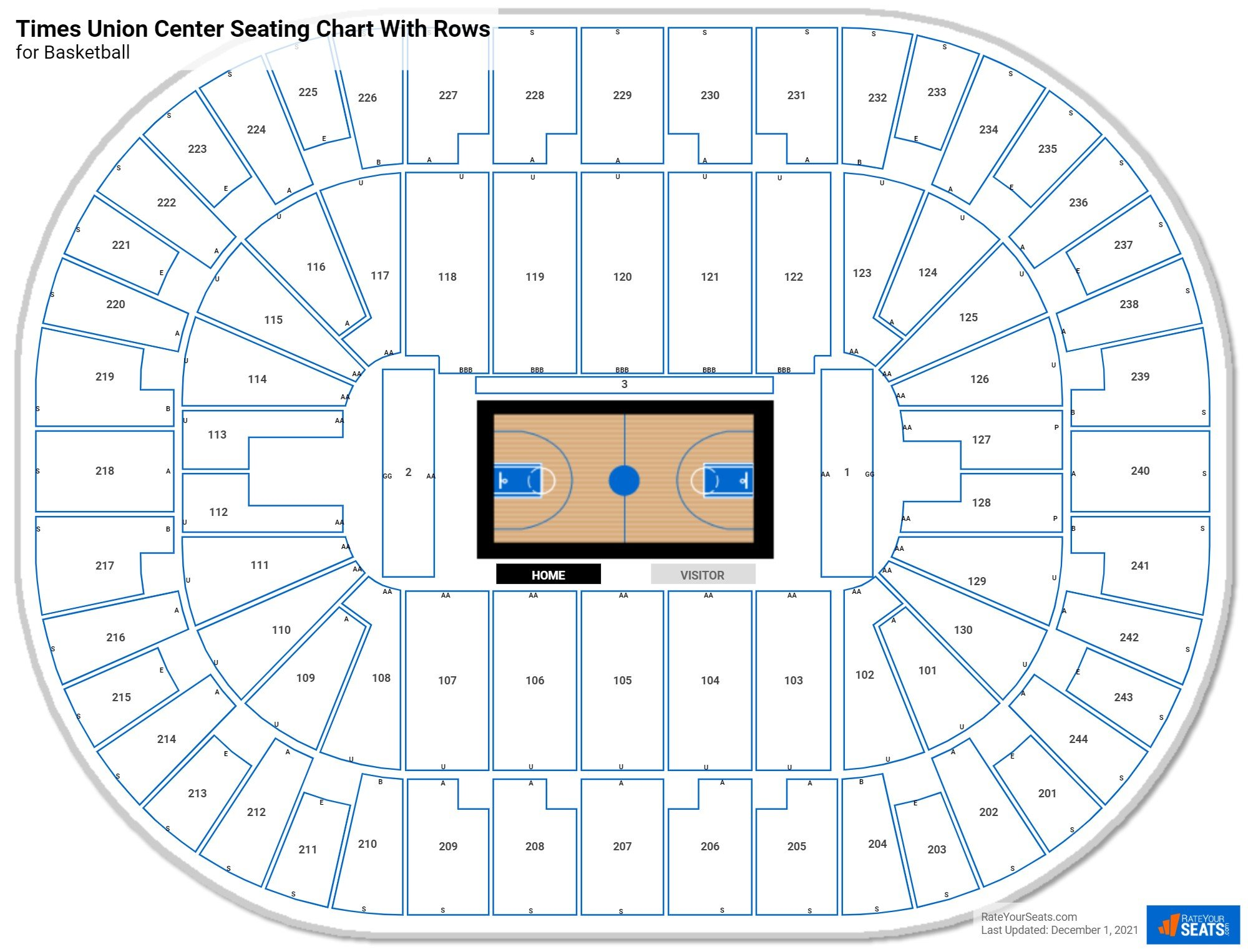 Times Union Center seating chart with rows basketball