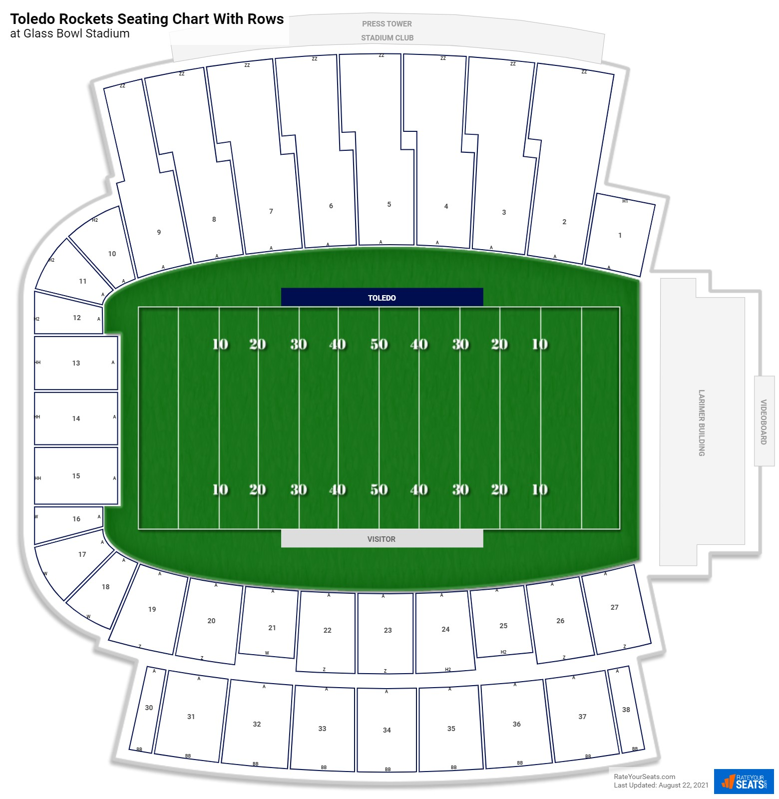 Glass Bowl seating chart with rows