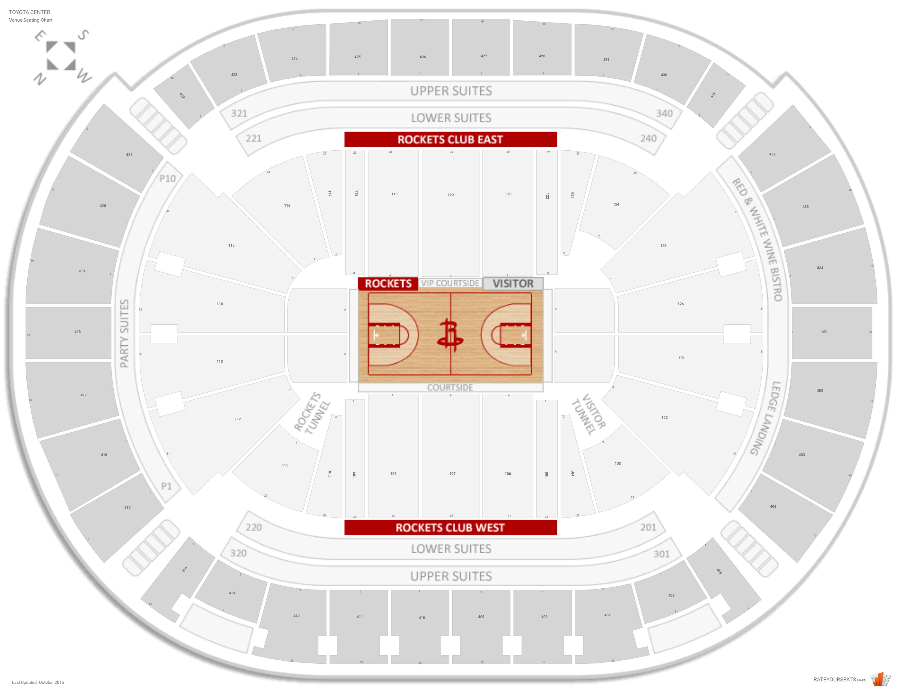 Houston rockets seating guide toyota center rateyourseats com