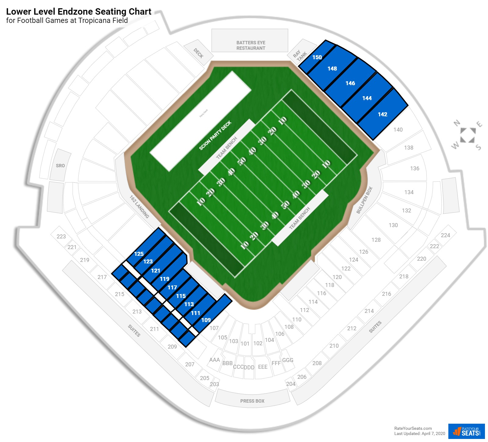 Tropicana Field Lower Level Endzone seating chart