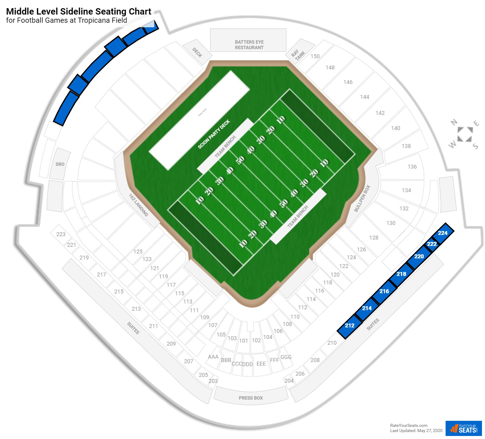 Tropicana Field Middle Level Sideline seating chart