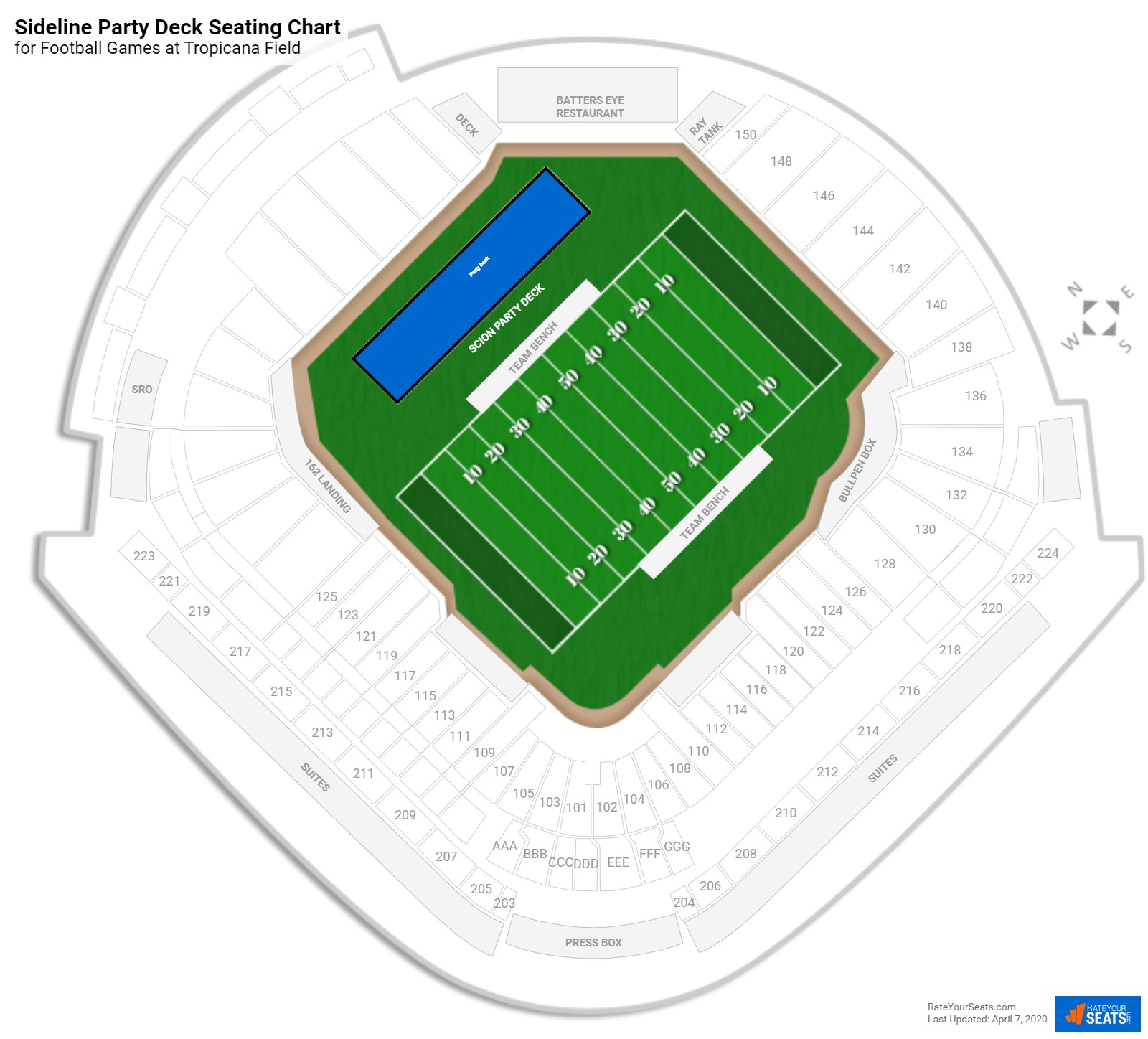 Tropicana Field Sideline Party Deck seating chart