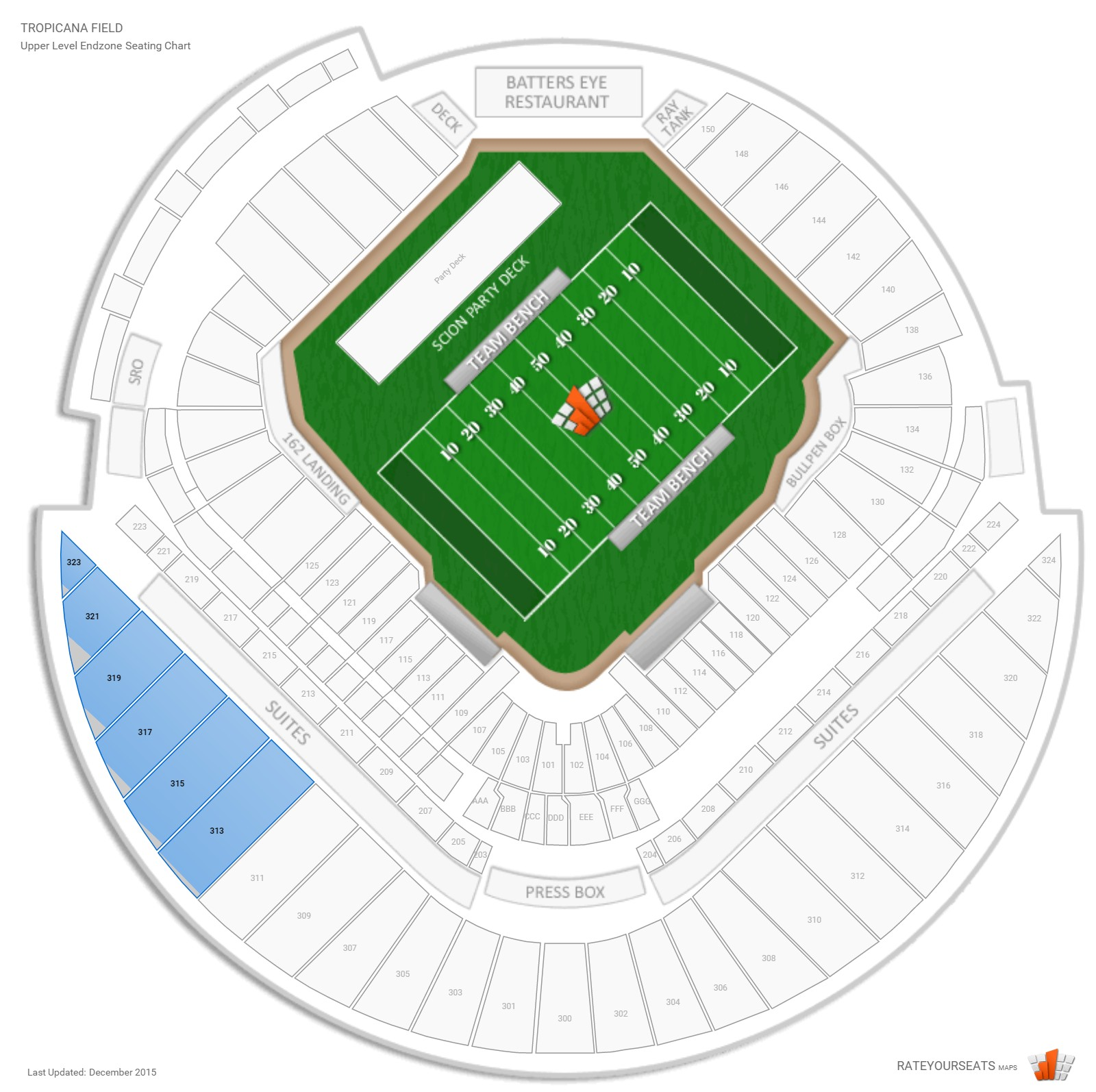 Tropicana Field Upper Level Endzone seating chart