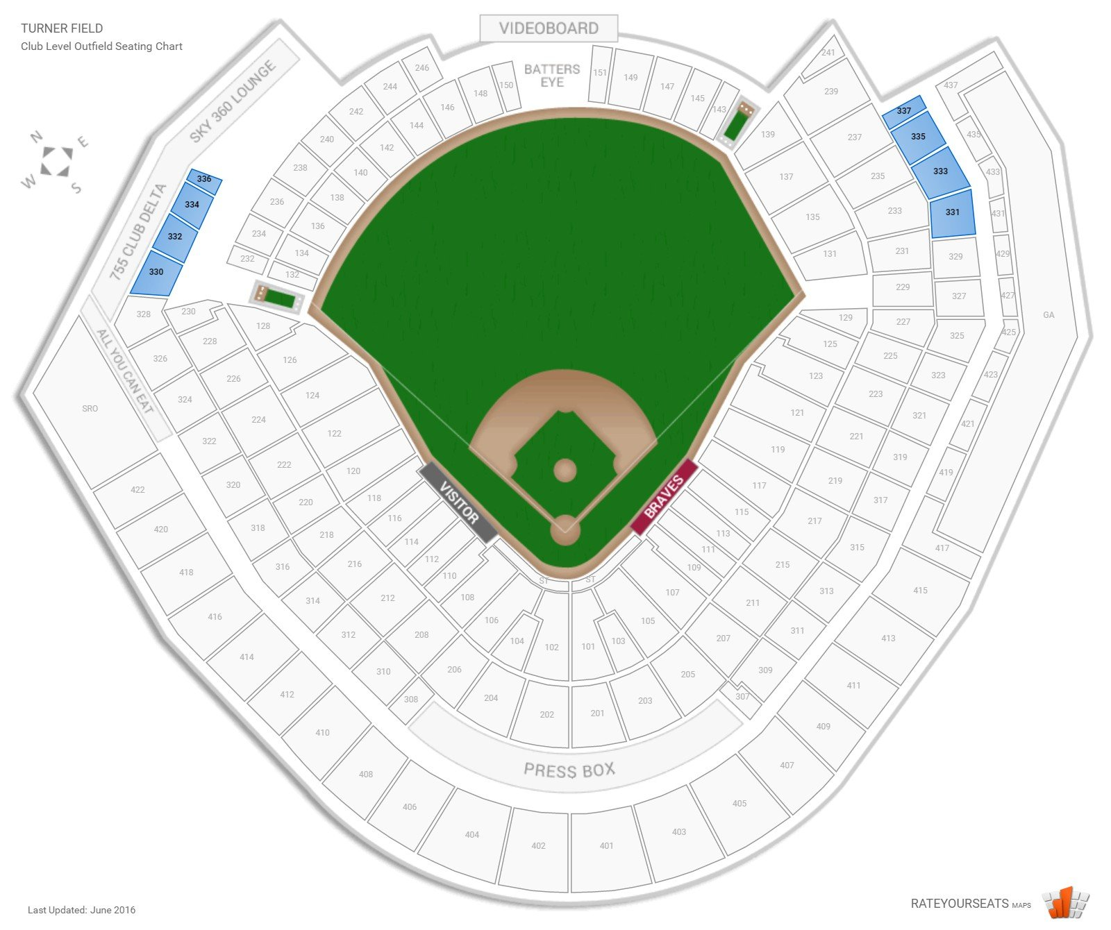 Turner Field Club Level Outfield seating chart