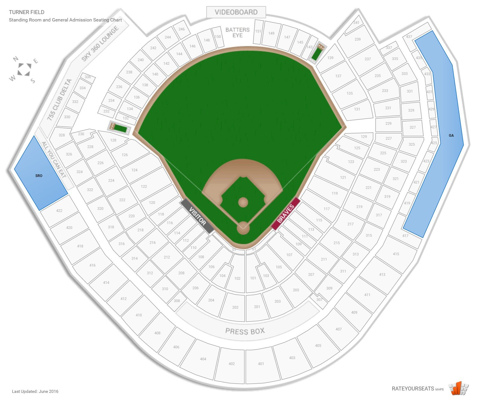 Turner Field Standing Room and General Admission seating chart
