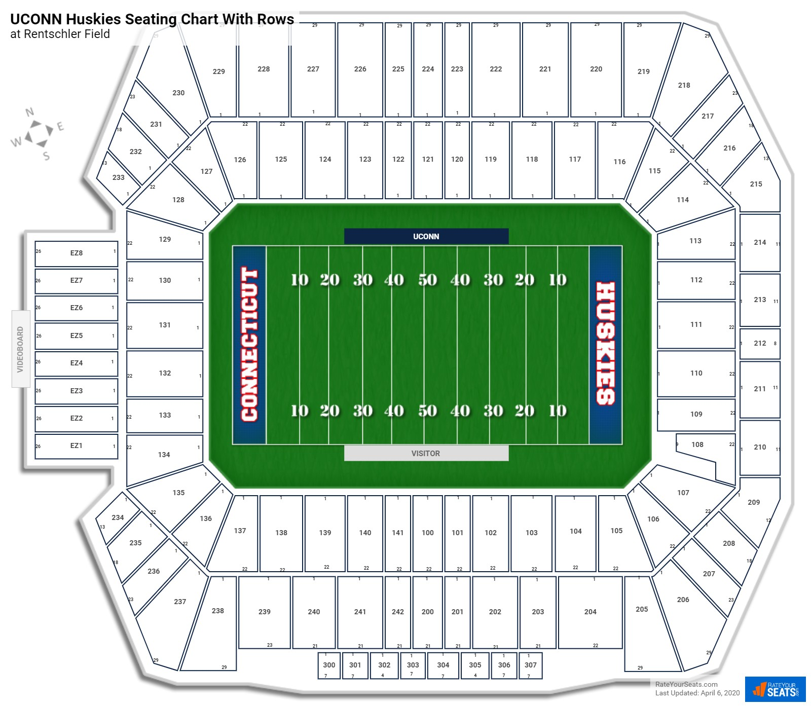 Rentschler Field seating chart with rows
