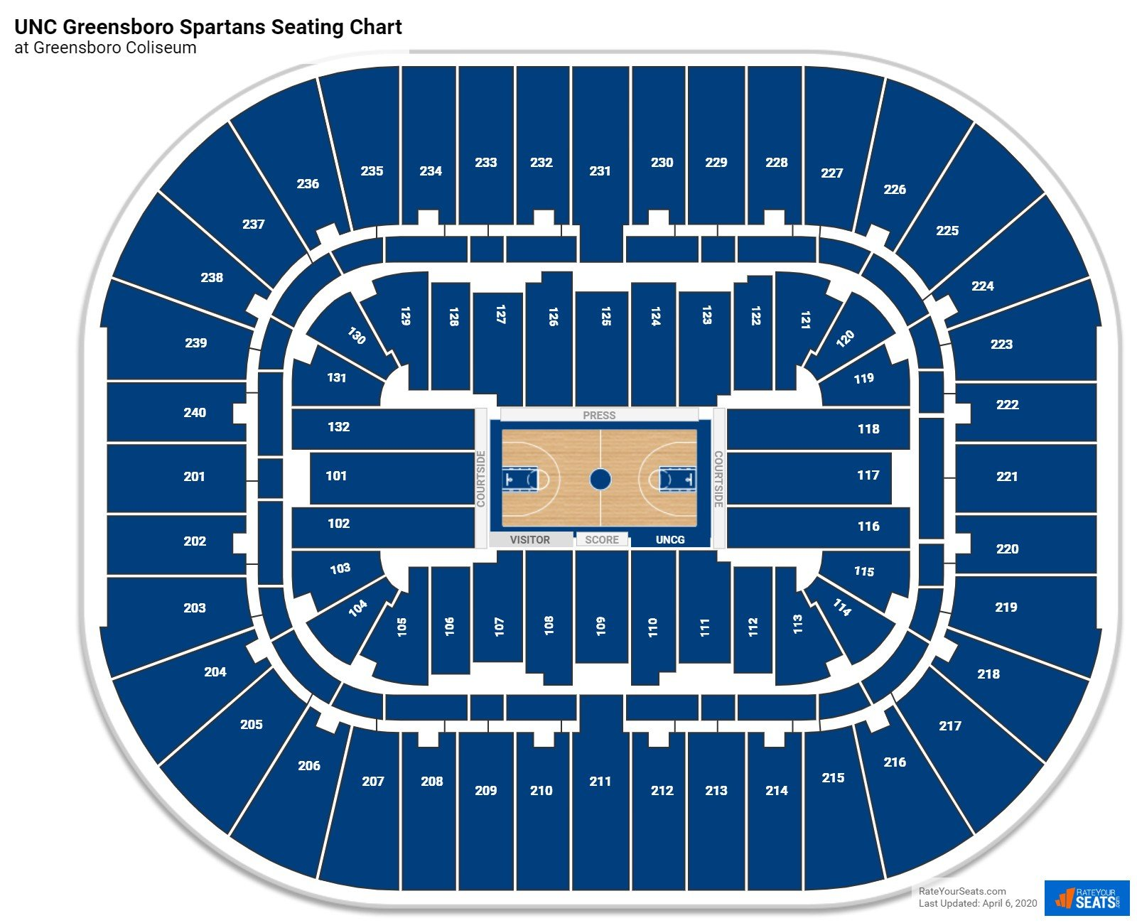UNC Greensboro Basketball Seating Chart