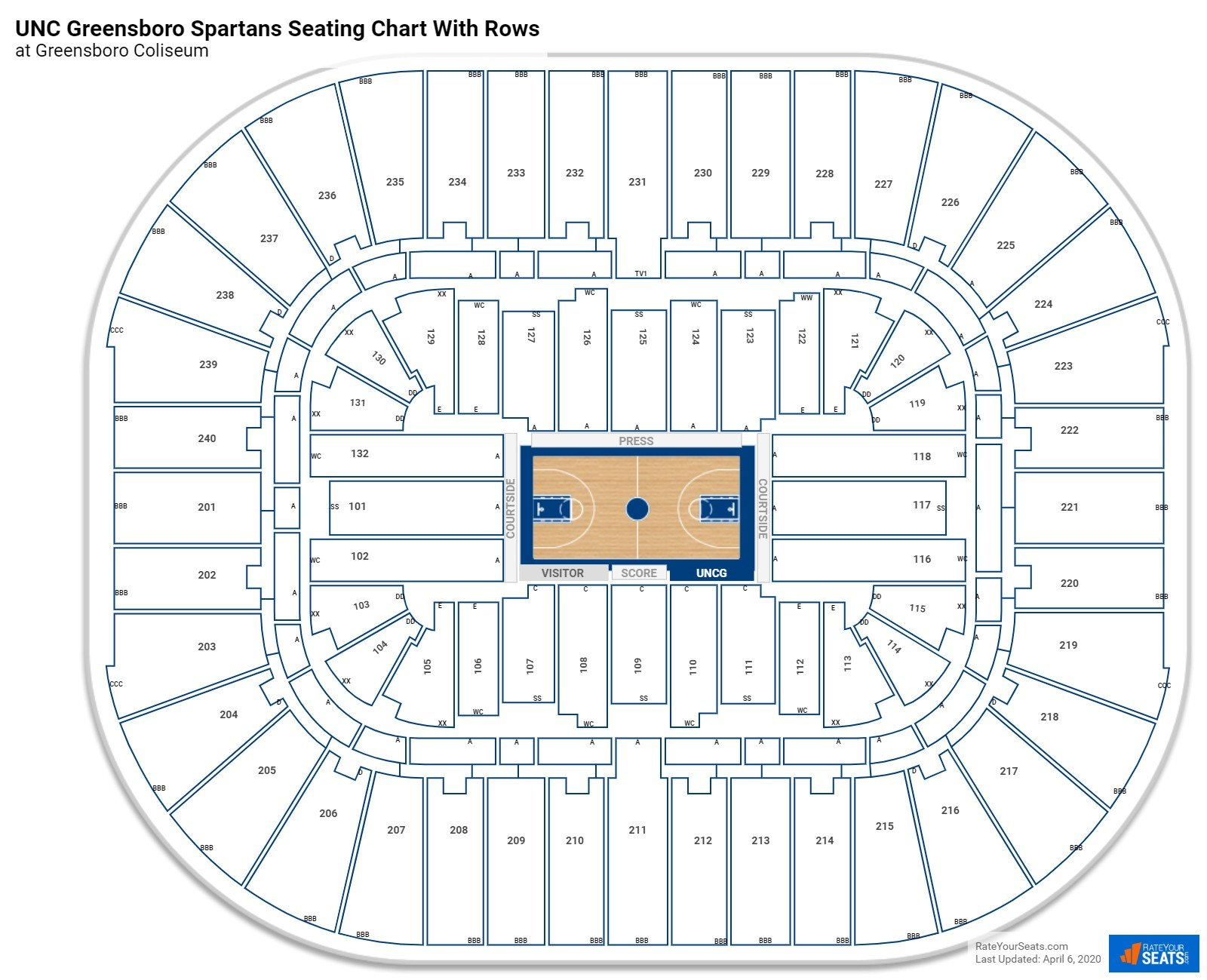 Greensboro Coliseum seating chart with rows basketball