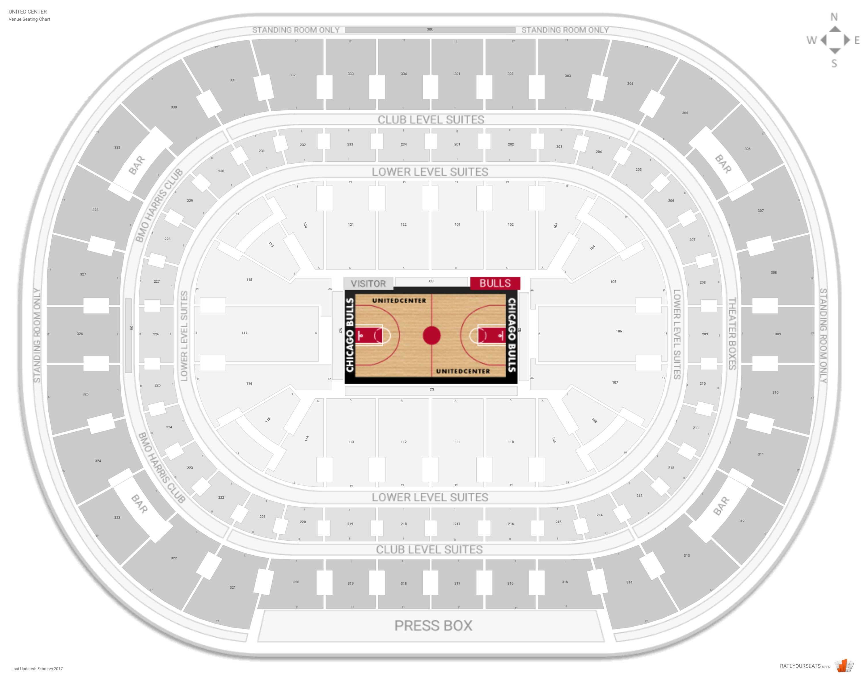 United Center Seating Chart With Row Numbers