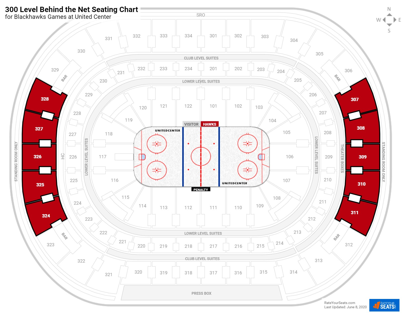 United Center 300 Level Behind the Net seating chart