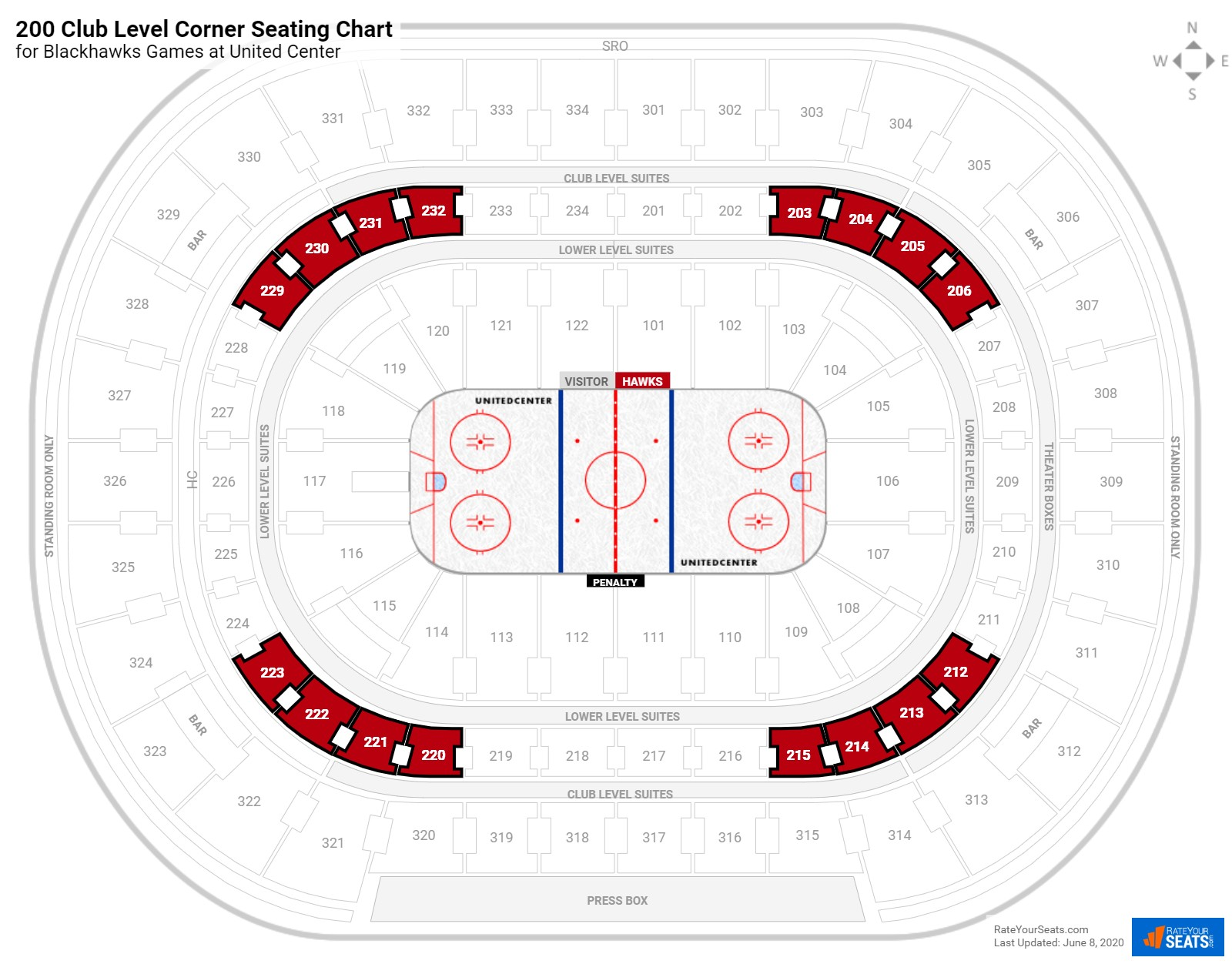 United Center Club Level Corner seating chart