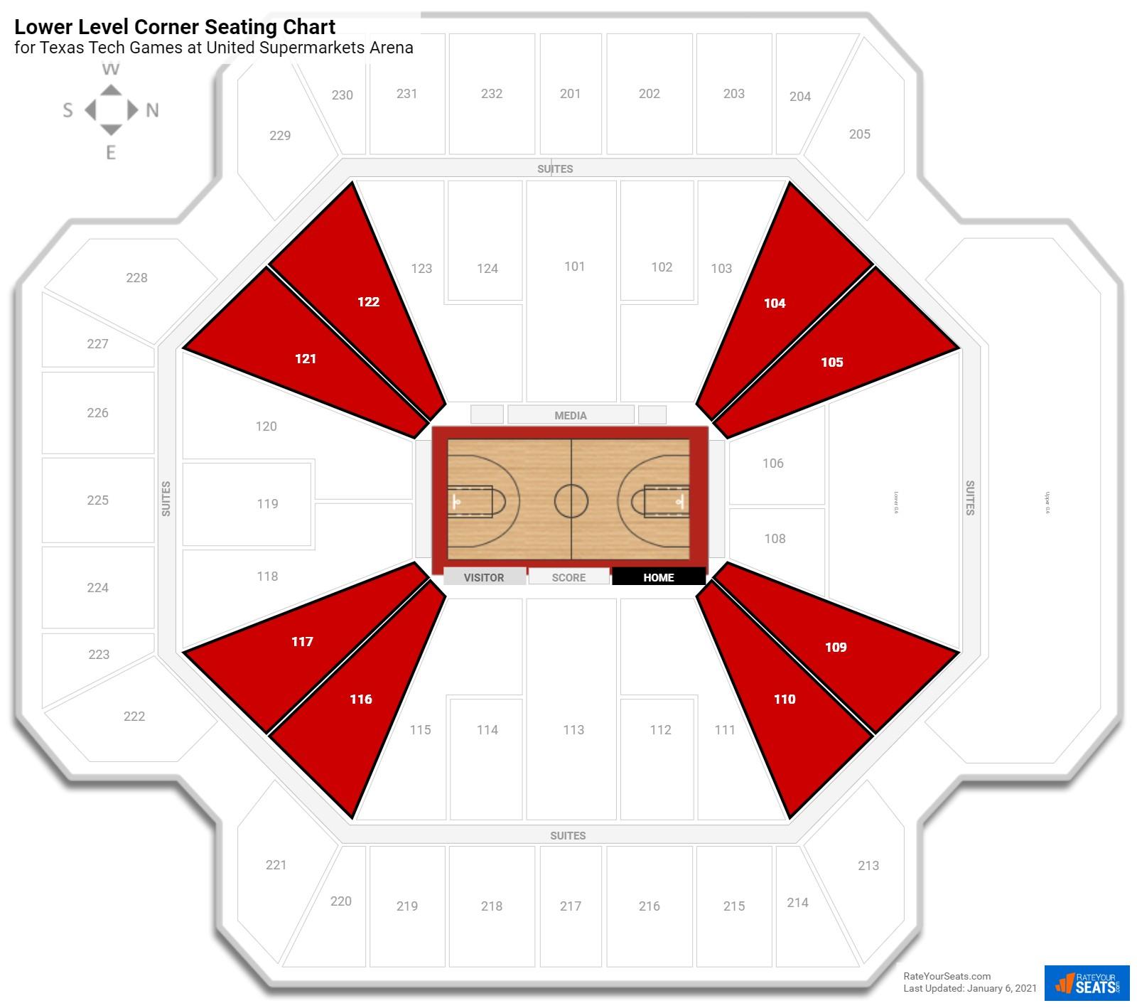 United Supermarkets Arena Lower Level Corner Seating Chart