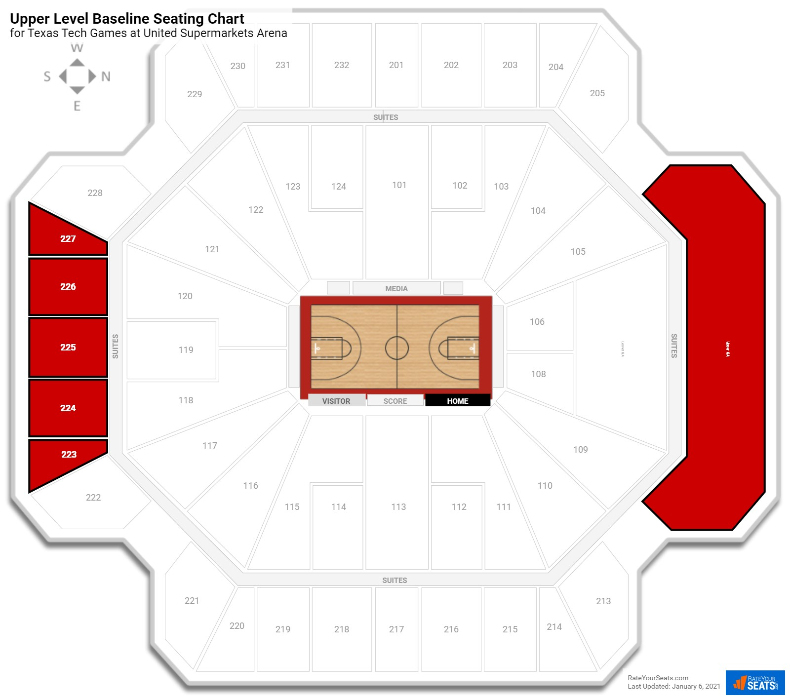 United supermarkets arena texas tech seating guide united supermarkets arena upper level baseline seating chart pooptronica