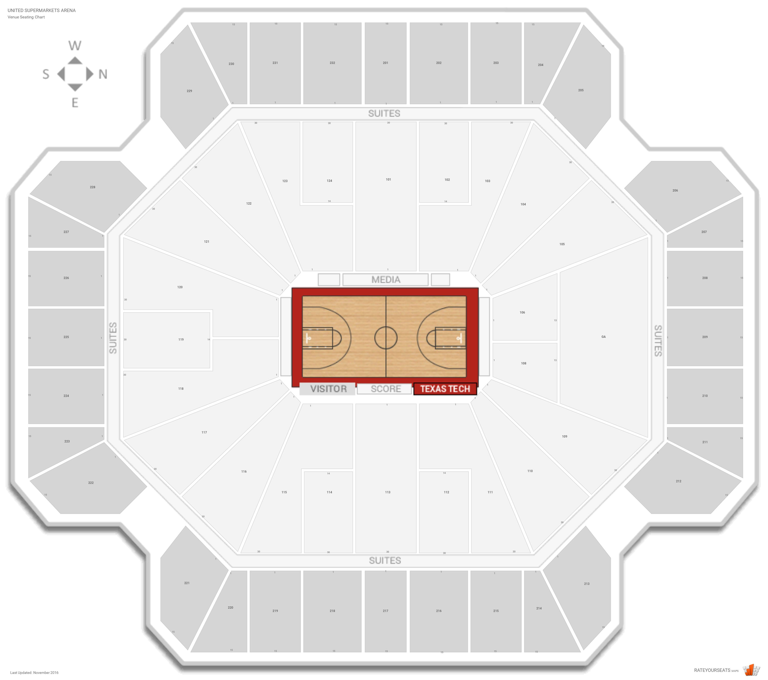United Supermarkets Arena Seating Chart With Row Numbers