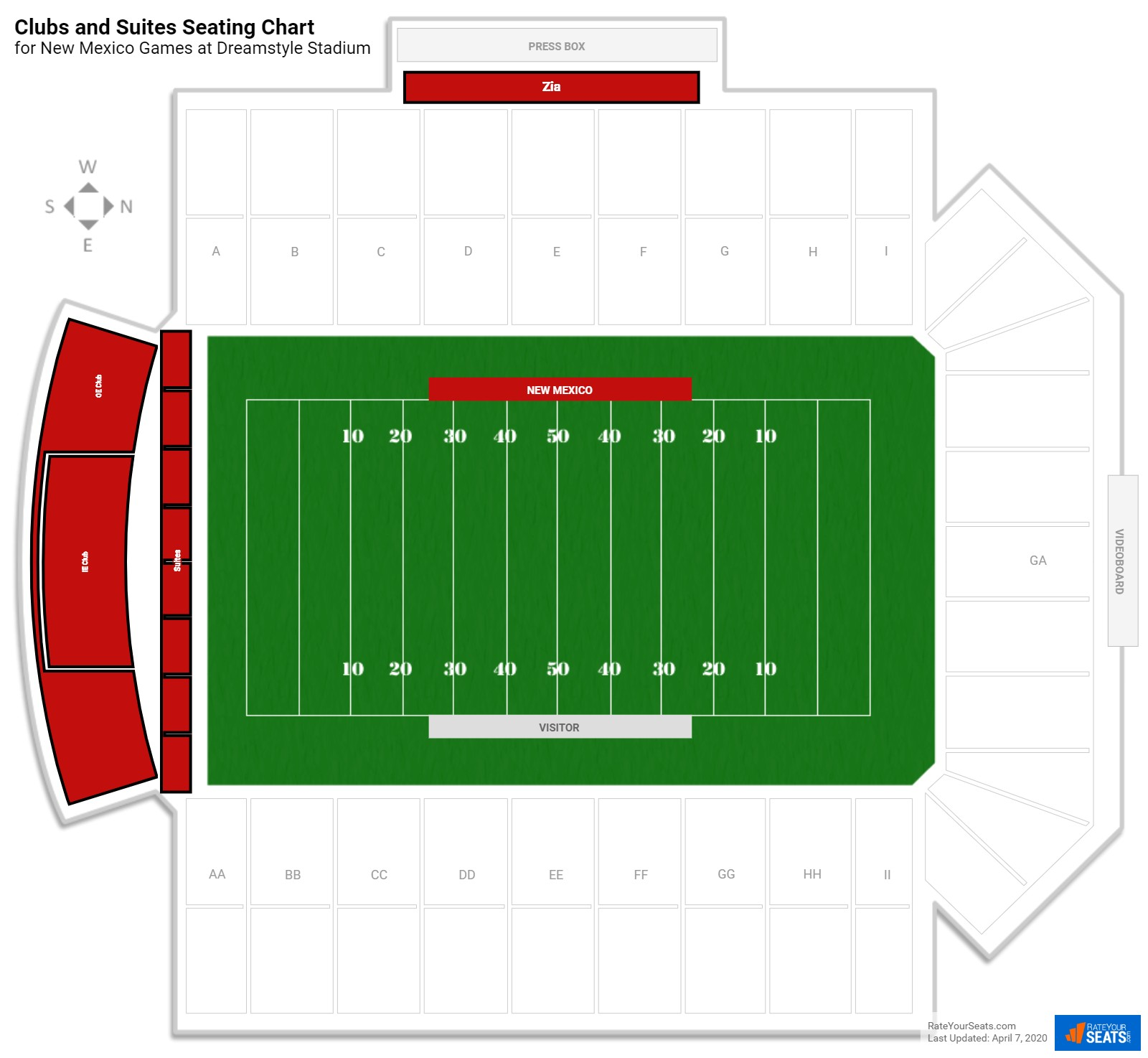 University Stadium Clubs and Suites seating chart