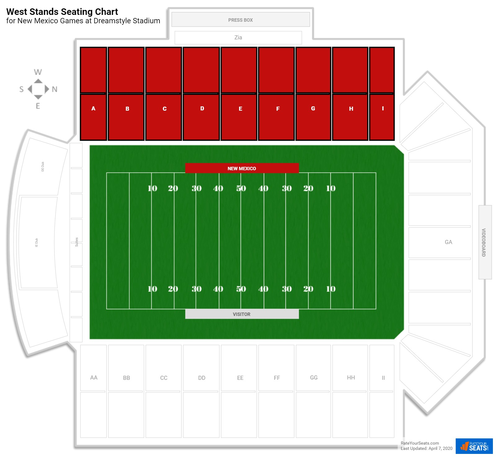 University Stadium West Stands seating chart
