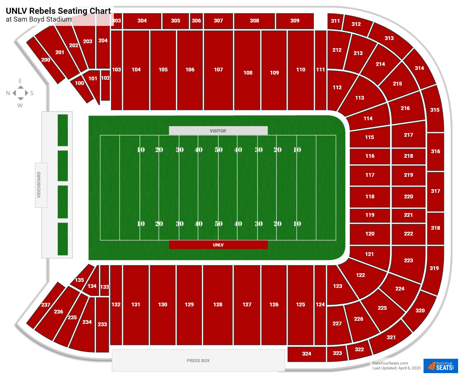 UNLV Football Seating Chart