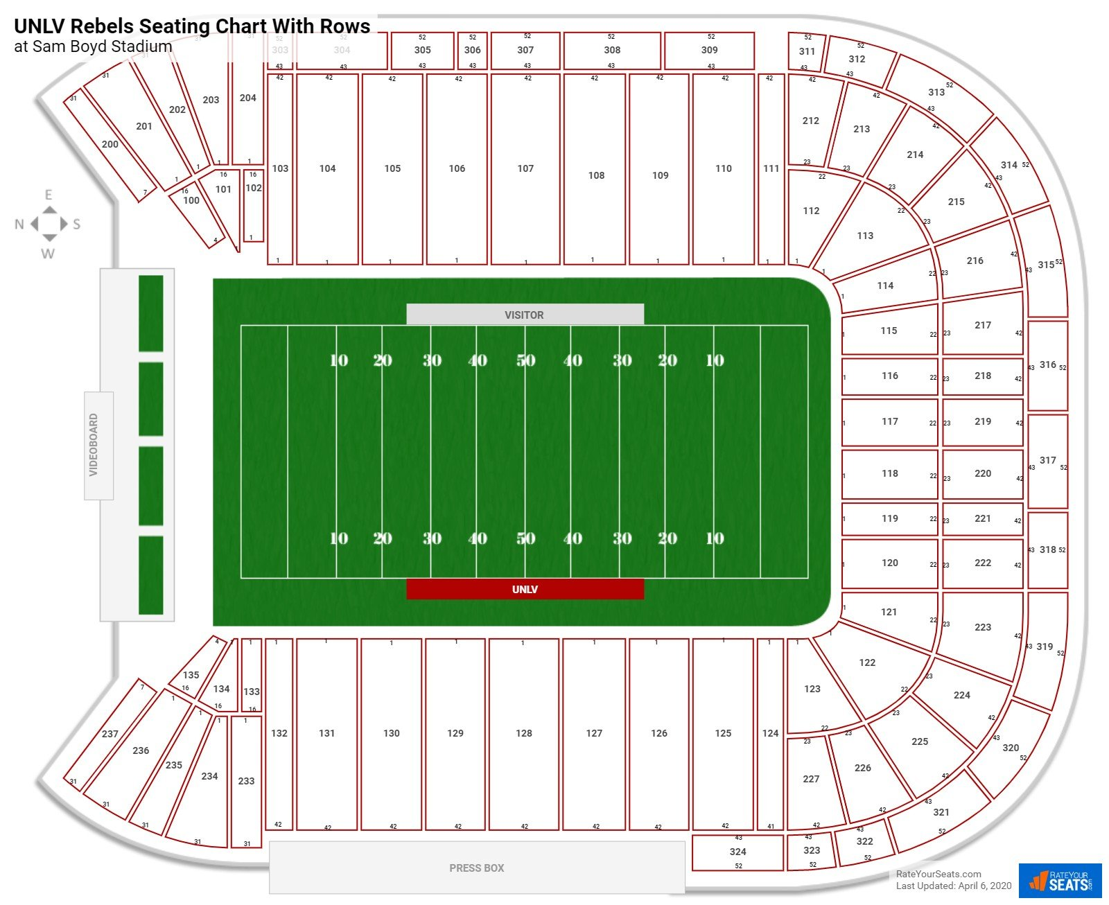 Sam Boyd Stadium seating chart with rows