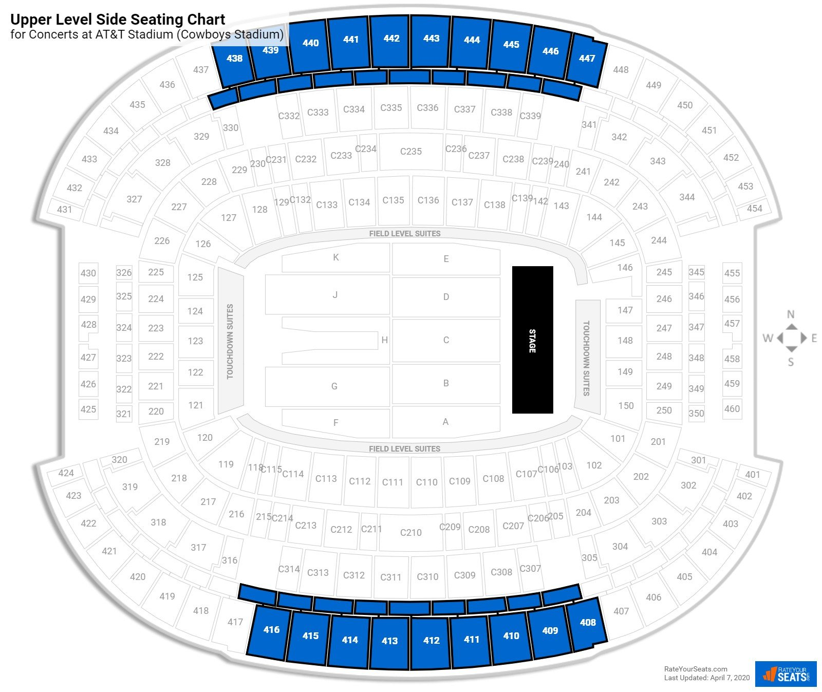 AT&T Stadium Seating for Concerts - RateYourSeats.com