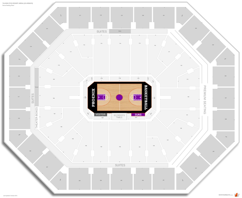 Phoenix Suns Seating Guide Talking Stick Resort Arena US - Us airways seating map