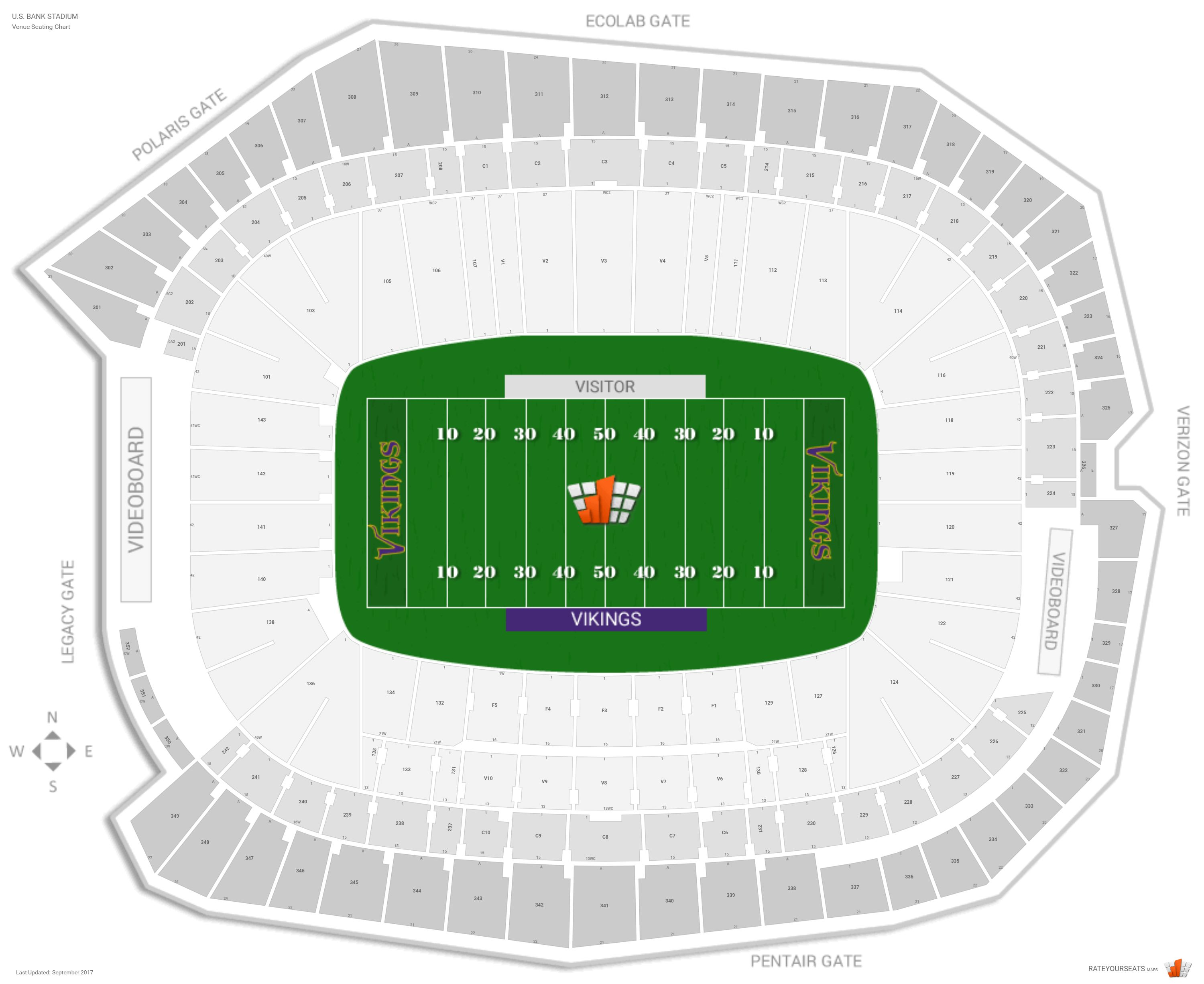 Chart With Row Numbers Minnesota Vikings Seating Guide U S Bank Stadium Rateyourseats