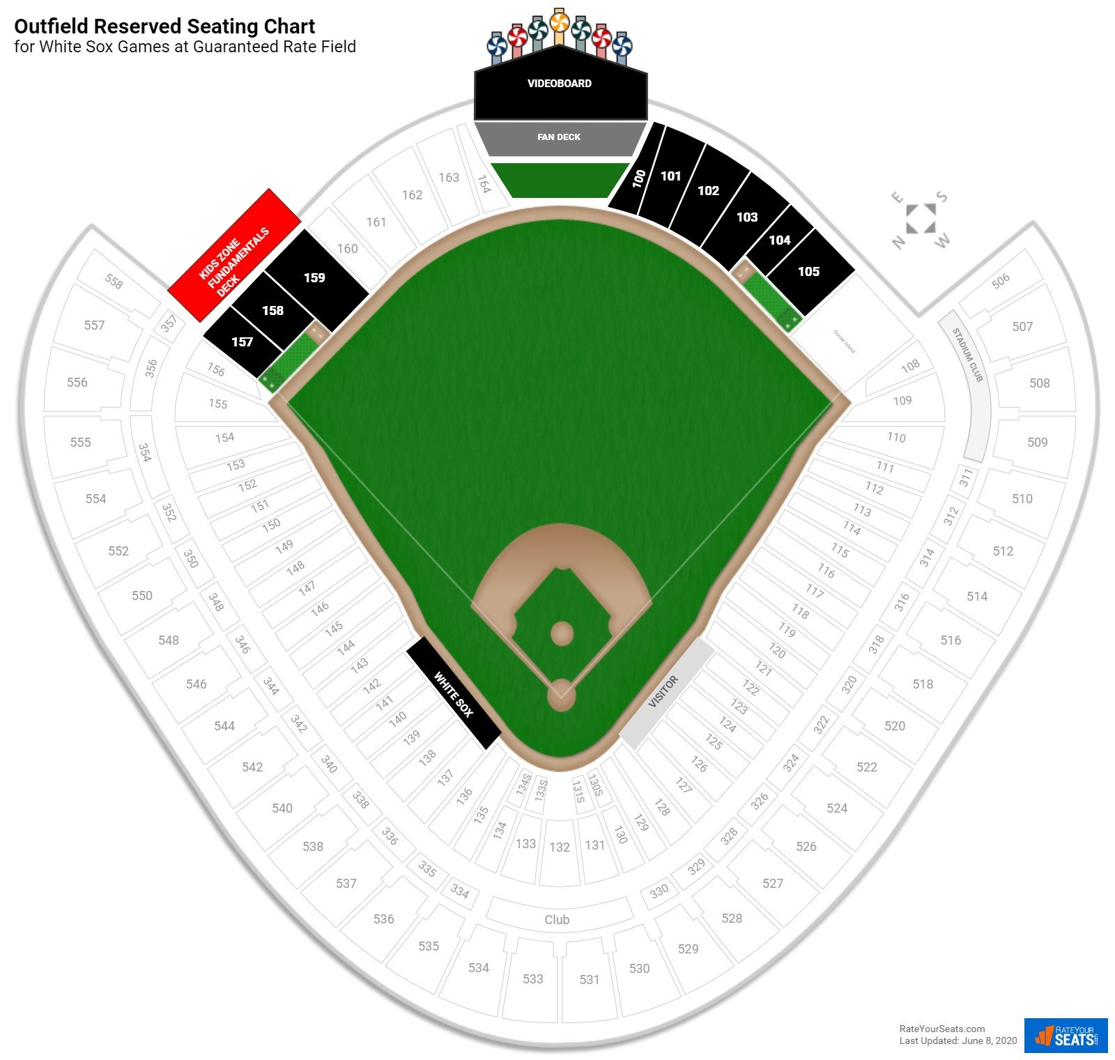 U.S. Cellular Field Outfield Reserved seating chart