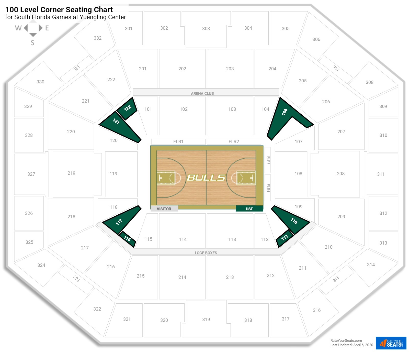 USF Sun Dome 100 Level Corner seating chart