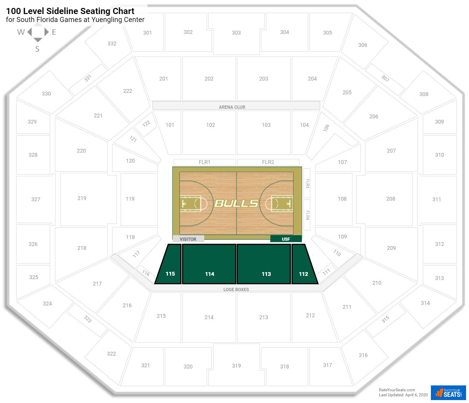 Yuengling Center 100 Level Sideline Seating Chart