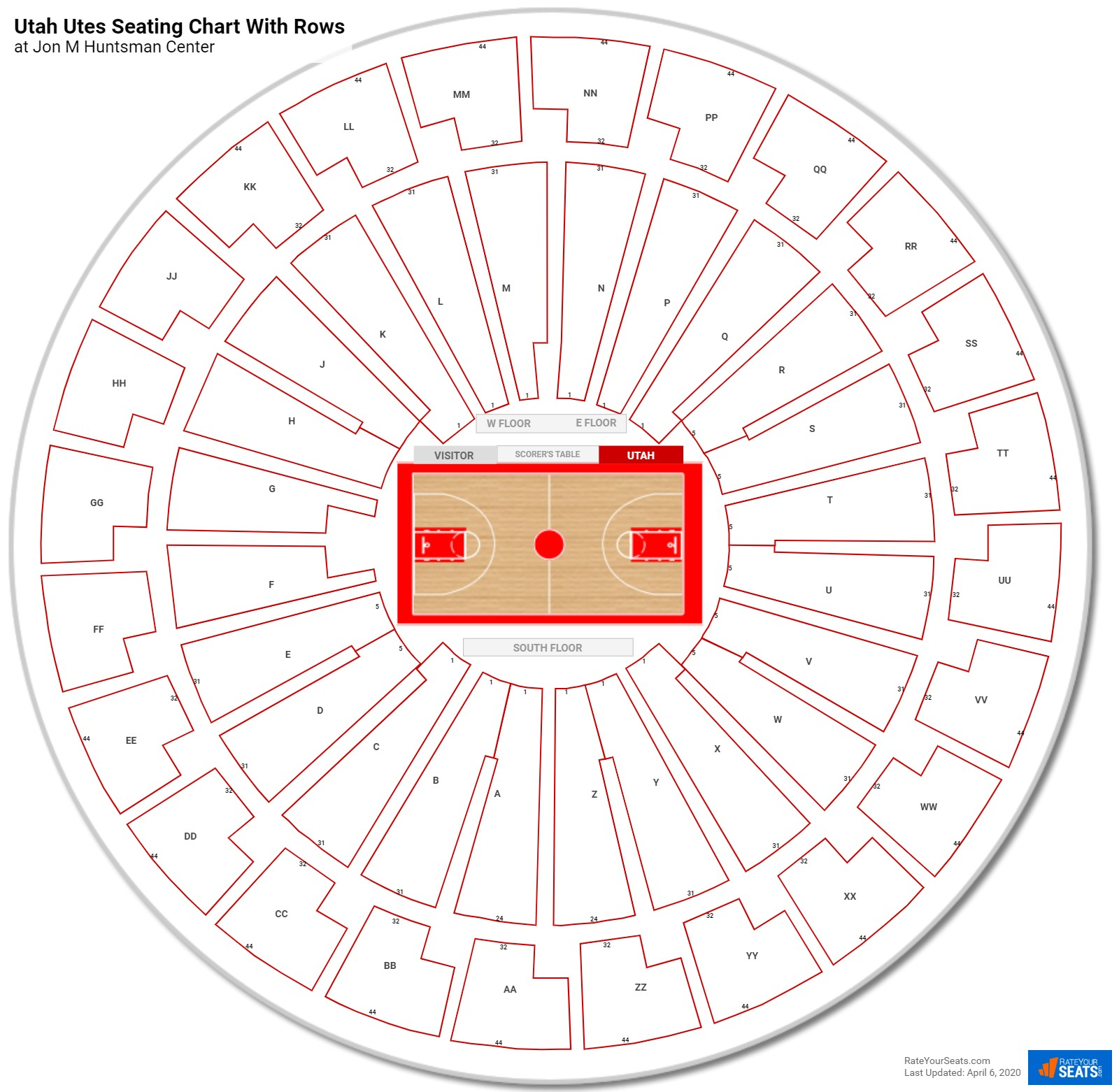 Jon M Huntsman Center seating chart with rows
