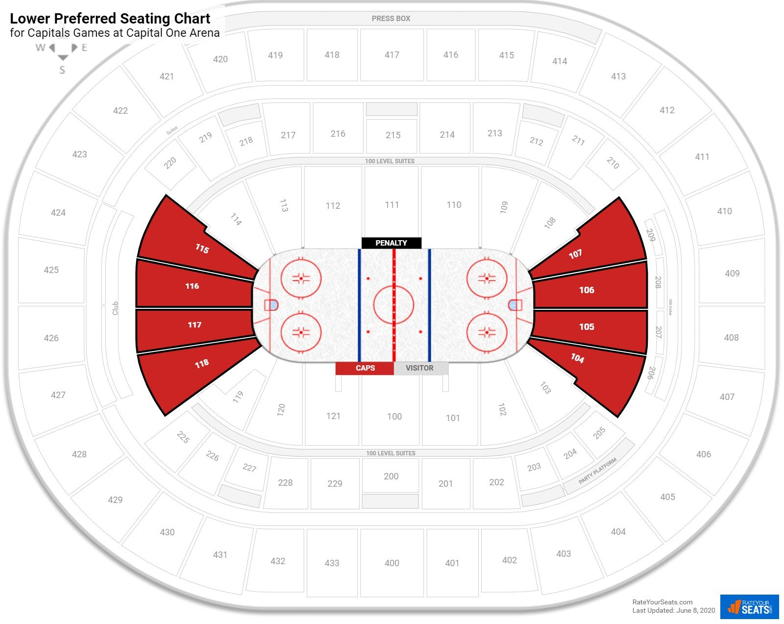 Verizon Center 100 Level Behind the Net seating chart