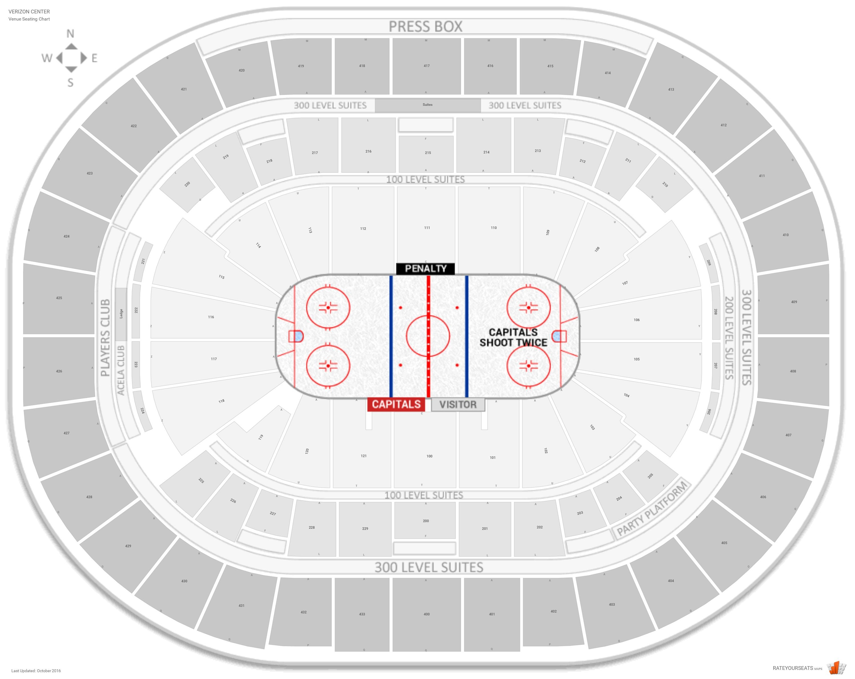 Capital e Arena Seating Chart with Row Numbers 100 Level Center