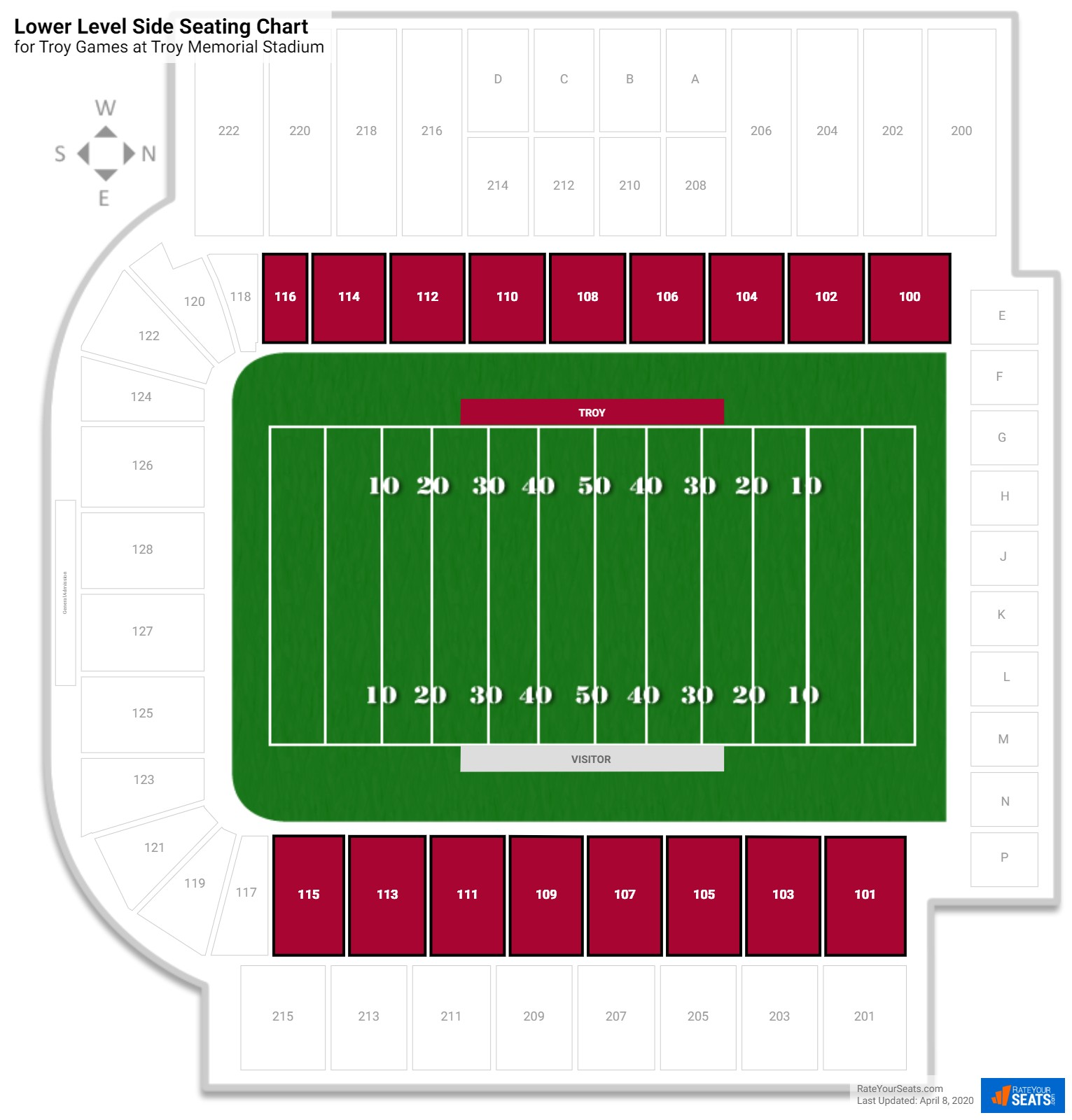 Troy Memorial Stadium Lower Level Side seating chart